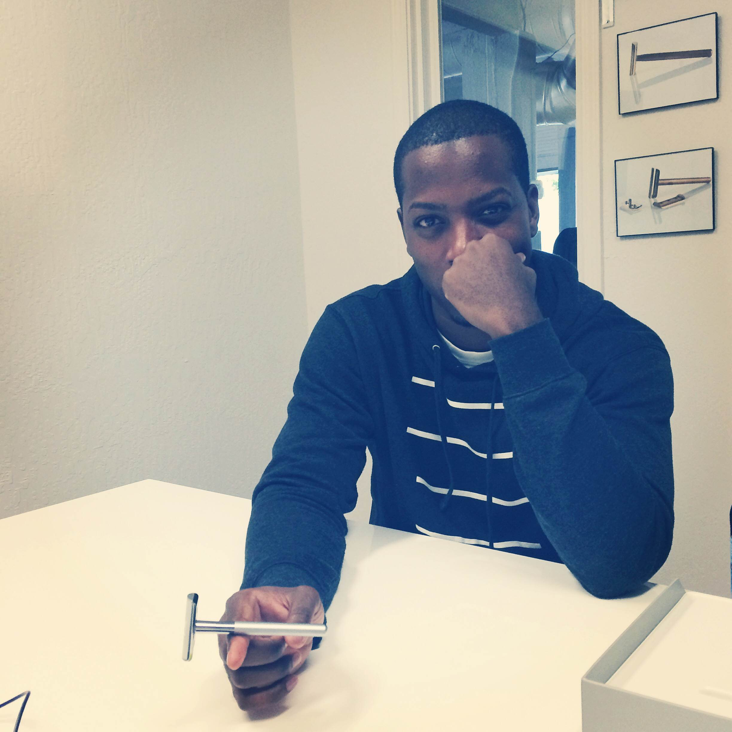Walker shows off his razor design at Bevel's offices in Palo Alto in October.