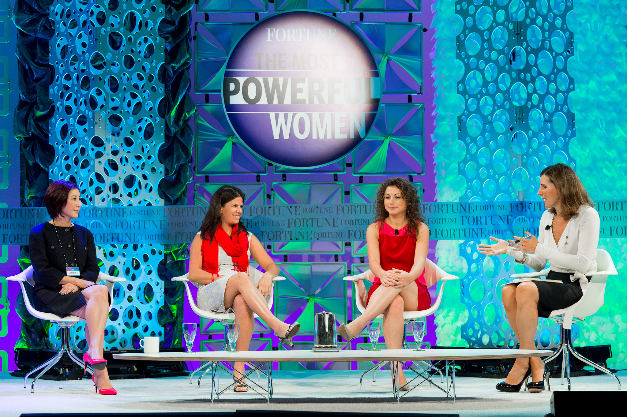 Fortune's Assistant Managing Editor Leigh Gallagher speaks with some of Fortune Most Promising Women Entrepreneurs winners (including Susan Coelius Keplinger) on stage at the 2014 Most Powerful Women Summit.