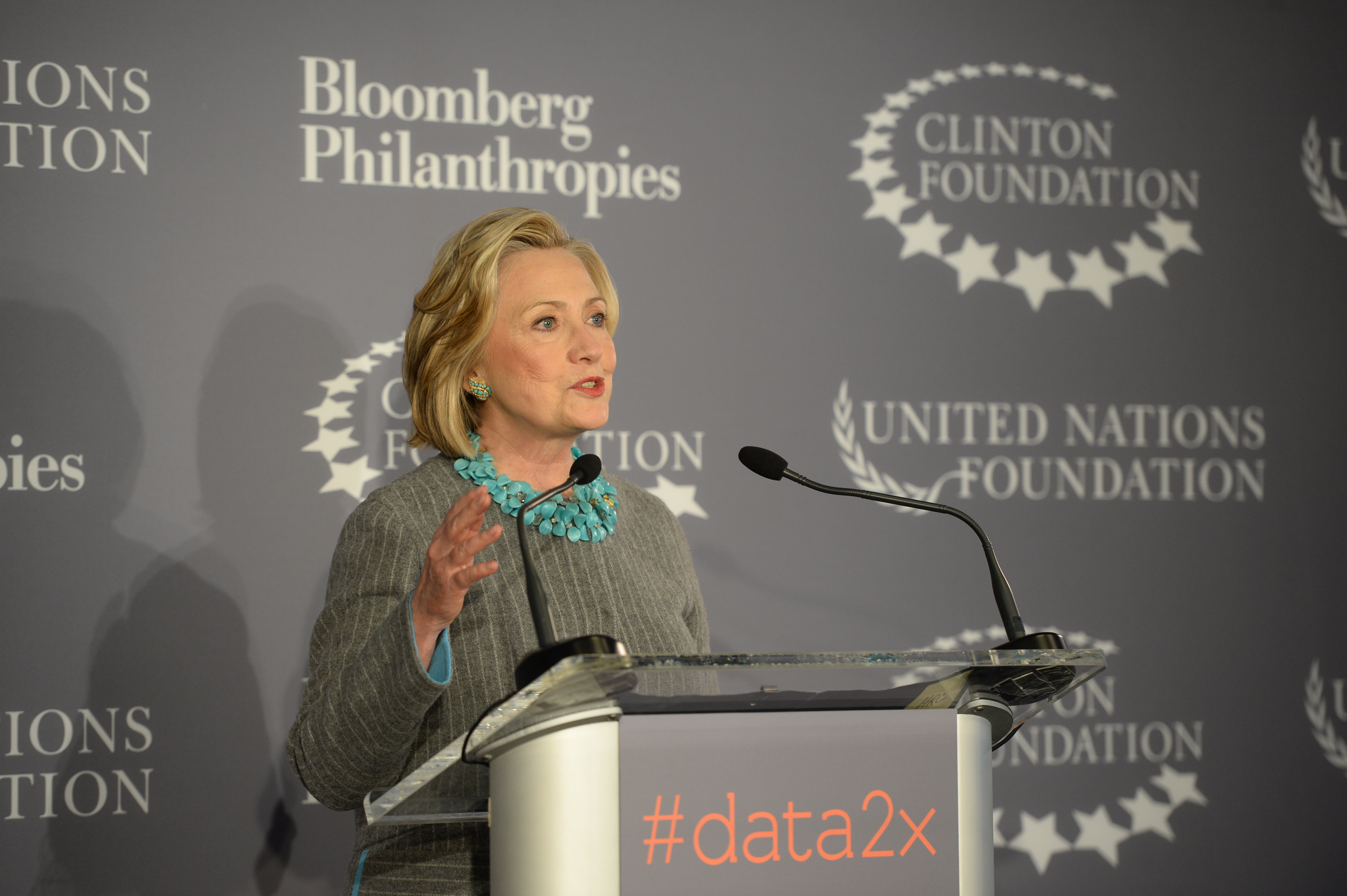 Hillary Clinton speaks at the Bloomberg Foundation's data2X event at the foundation headquarters in Manhattan, December 15th, 2014.