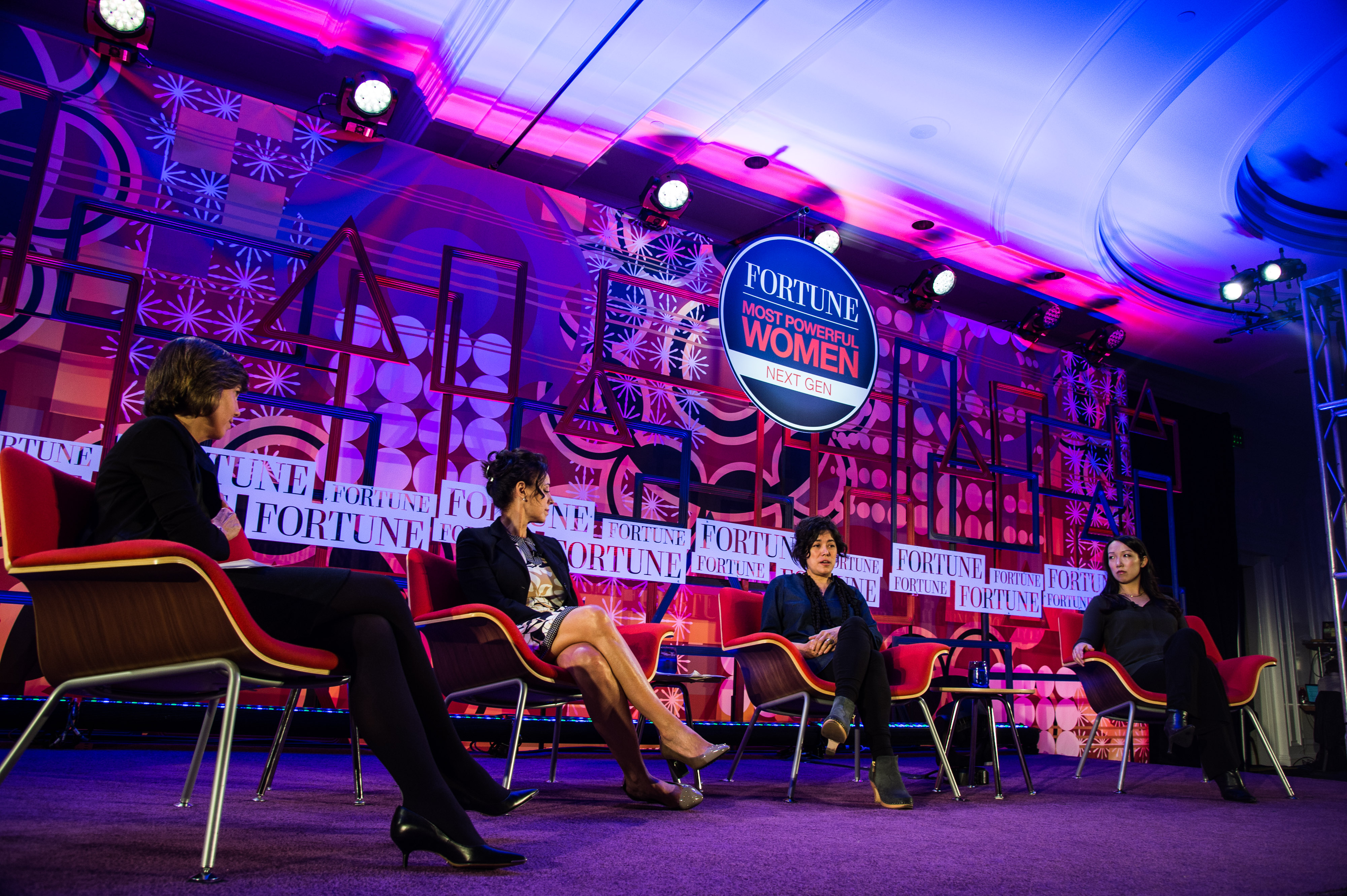 From left to right: Fortune Senior Editor at Large Pattie Sellers, former Microsoft executive Gerri Elliott, Flickr founder Caterina Fake and Hearsay founder Clarah Shih.