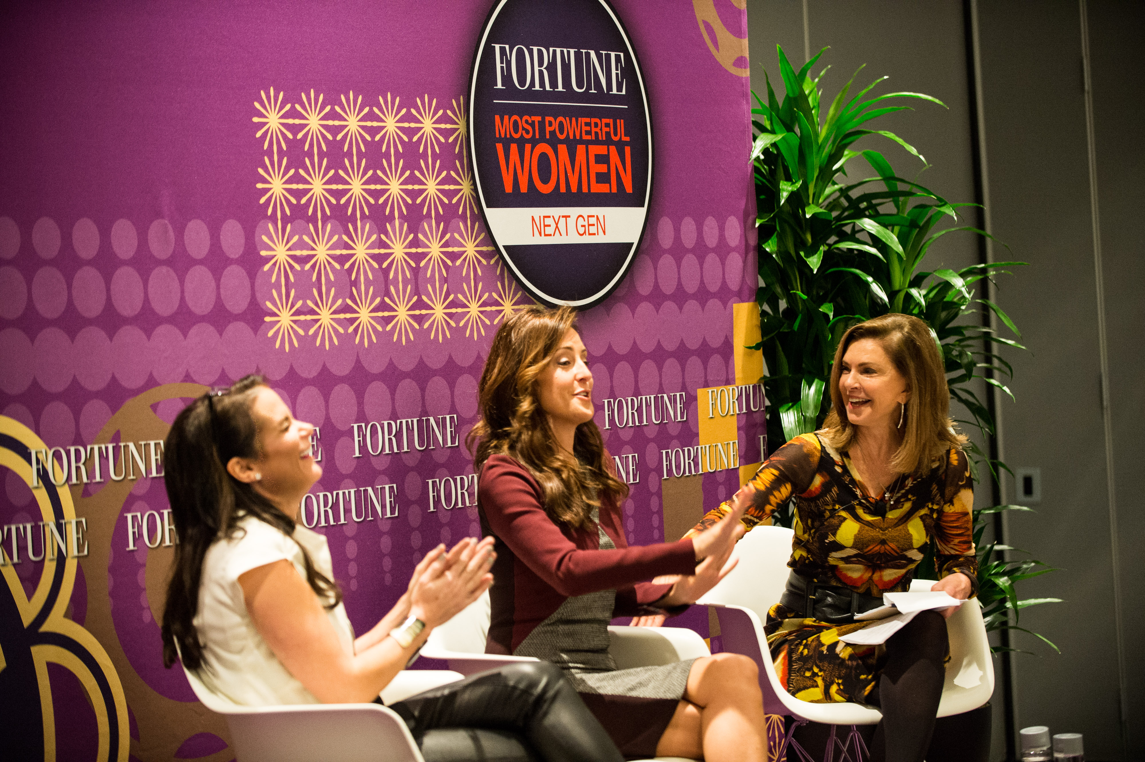 Nicole Williams, the career expert at LinkedIn and Brandee Barker, a co-founder and partner at Pramana Collective, give social media tips at MPW Next Gen