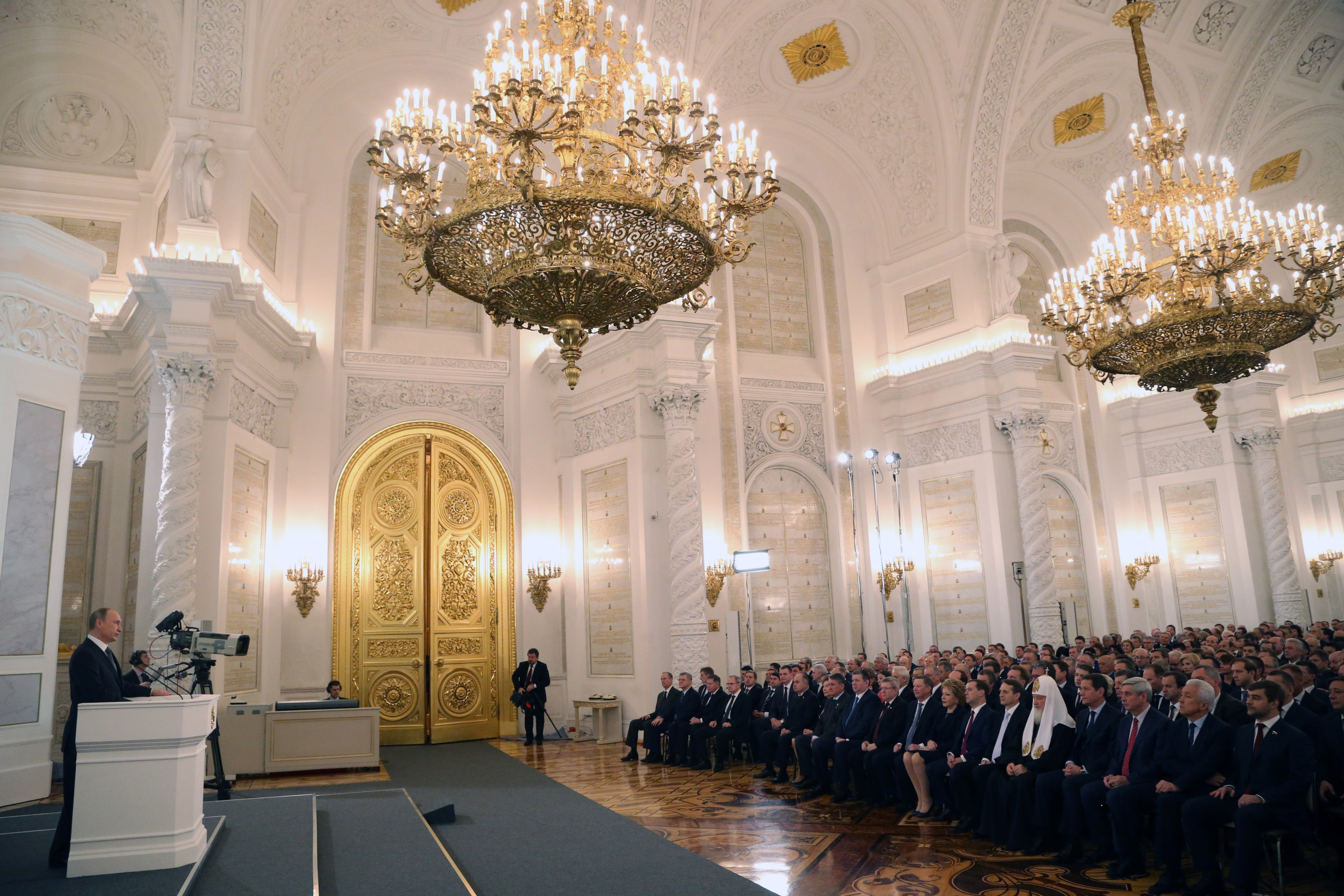 Russian President Vladimir Putin Delivers State Of The Nation Address To Parliament