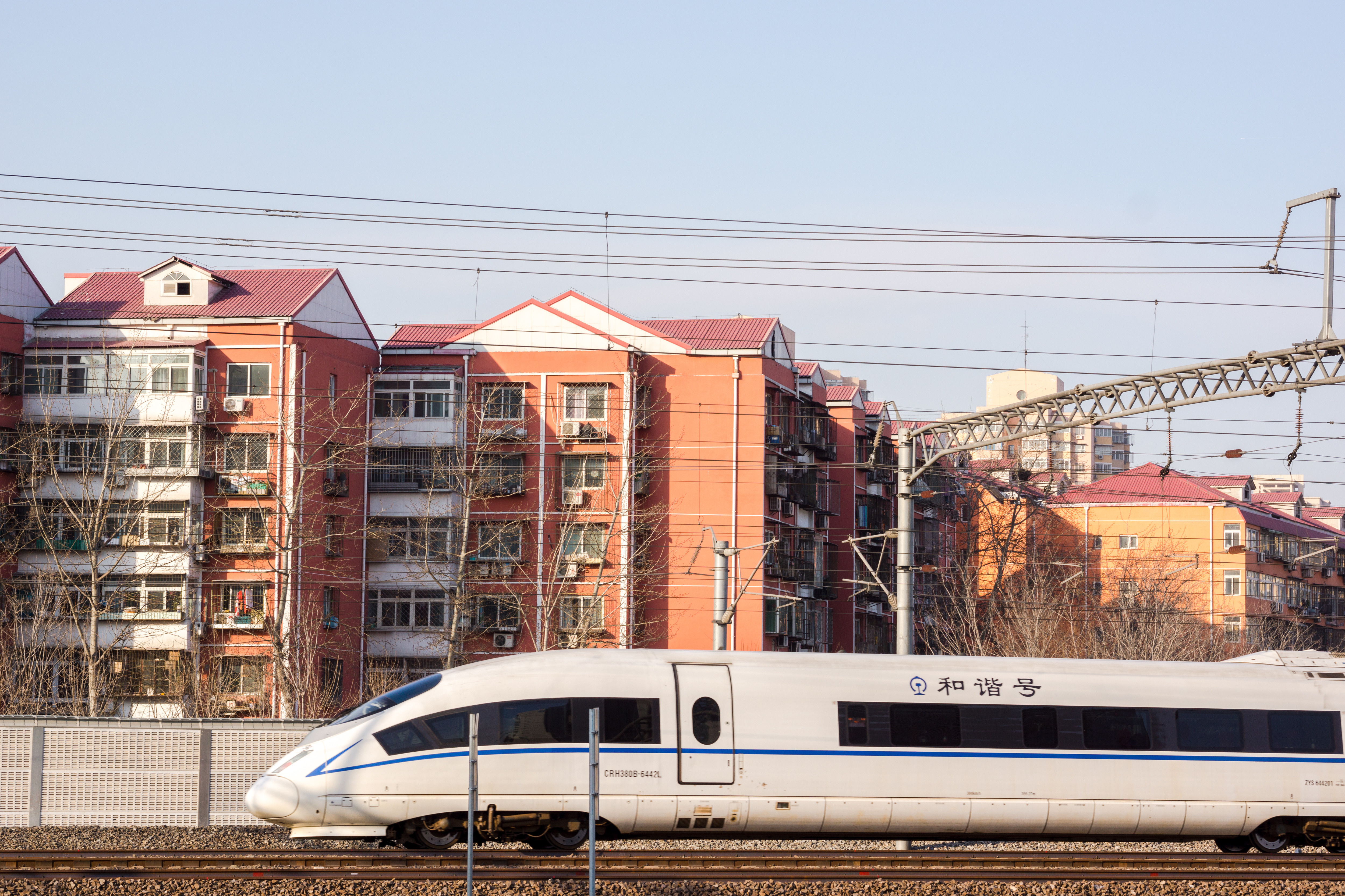 A high speed train is driving past a residential district.