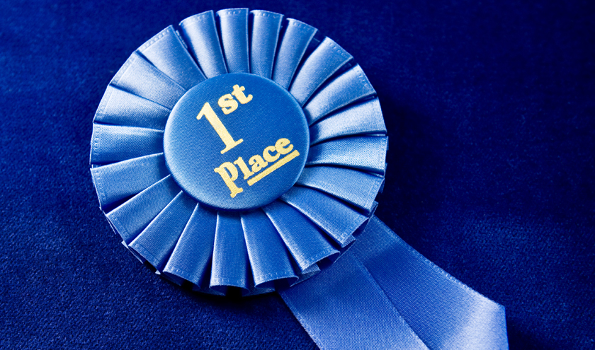 1st place ribbon on blue velvet