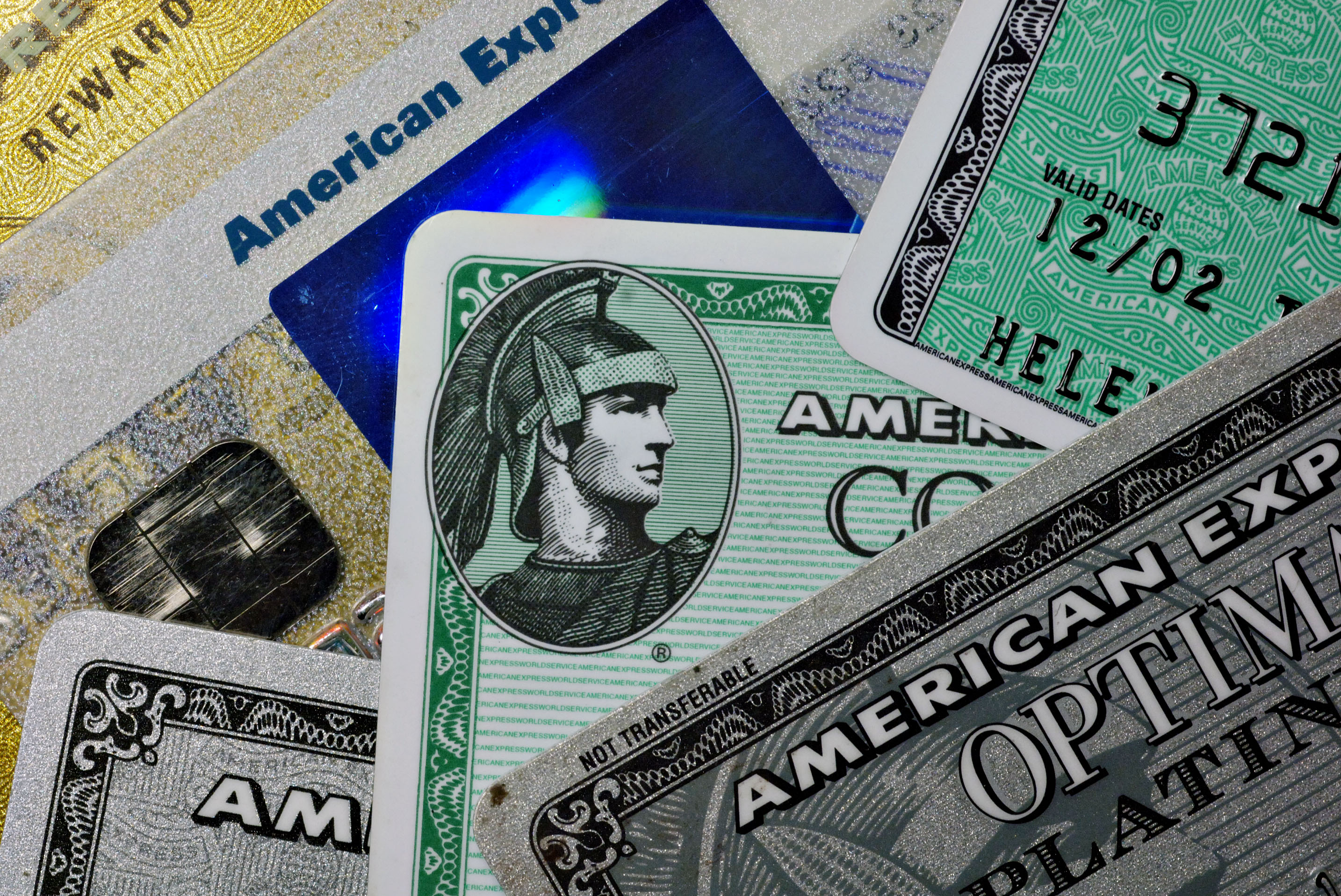 Several American Express credit cards are pictured in New Yo