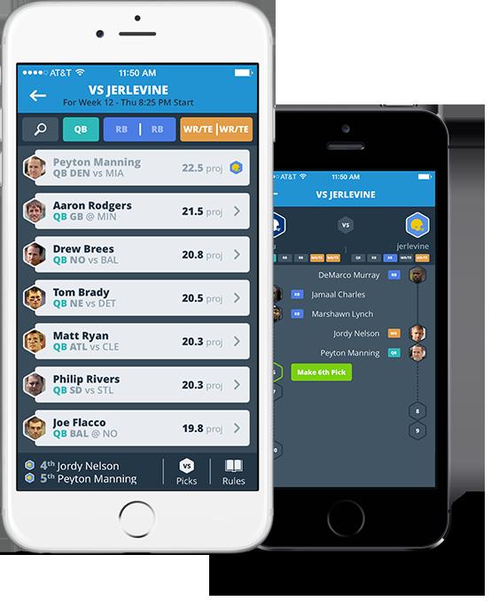 Draft fantasy football mobile app duo