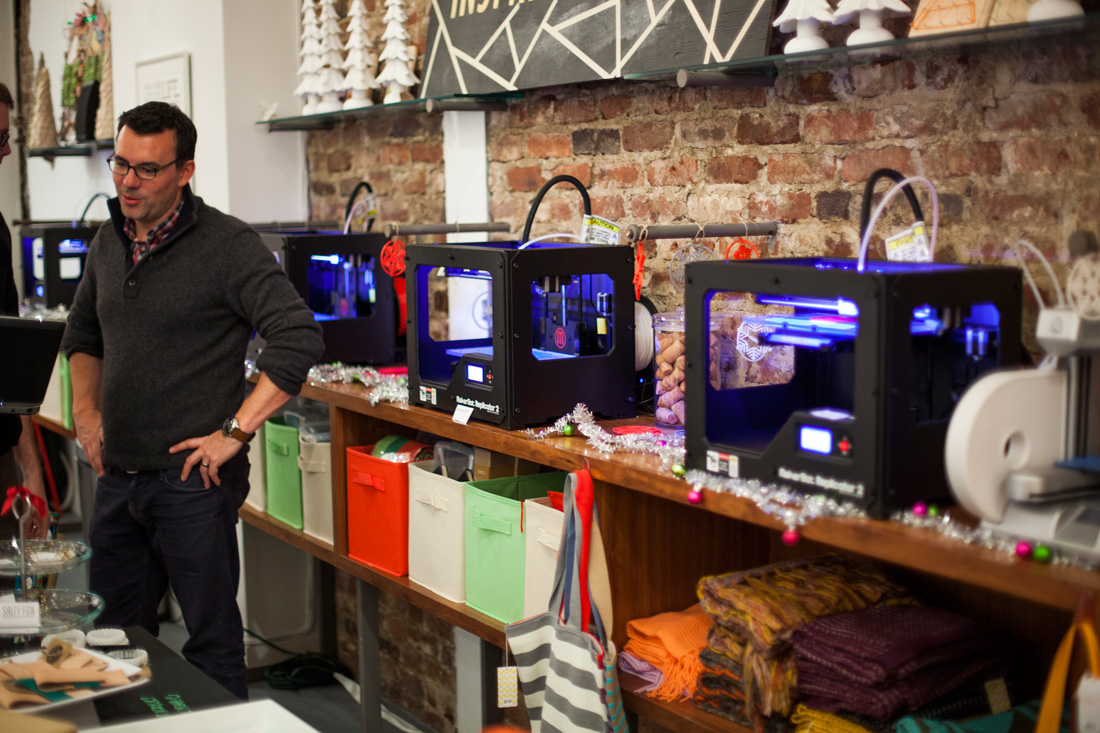 3D printers at the Brit + Co MakeShop in San Francisco