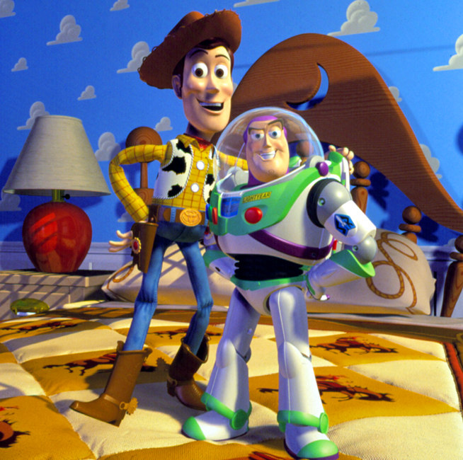 """Characters Woody and Buzz Lightyear from the animated film """"Toy Story."""" 1995"""
