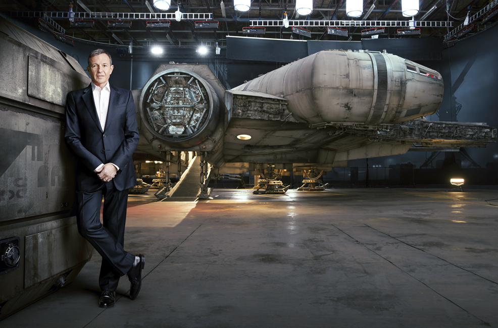 CEO Bob Iger seen with Millennium Falcon which will be in the 2015 released Star Wars movie.
