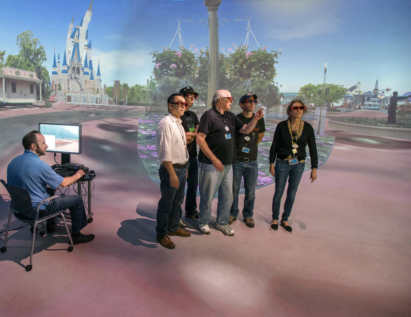A team of imagineers check out the ultimate virtual reality machine at Disney's Burbank headquarters: the Dish