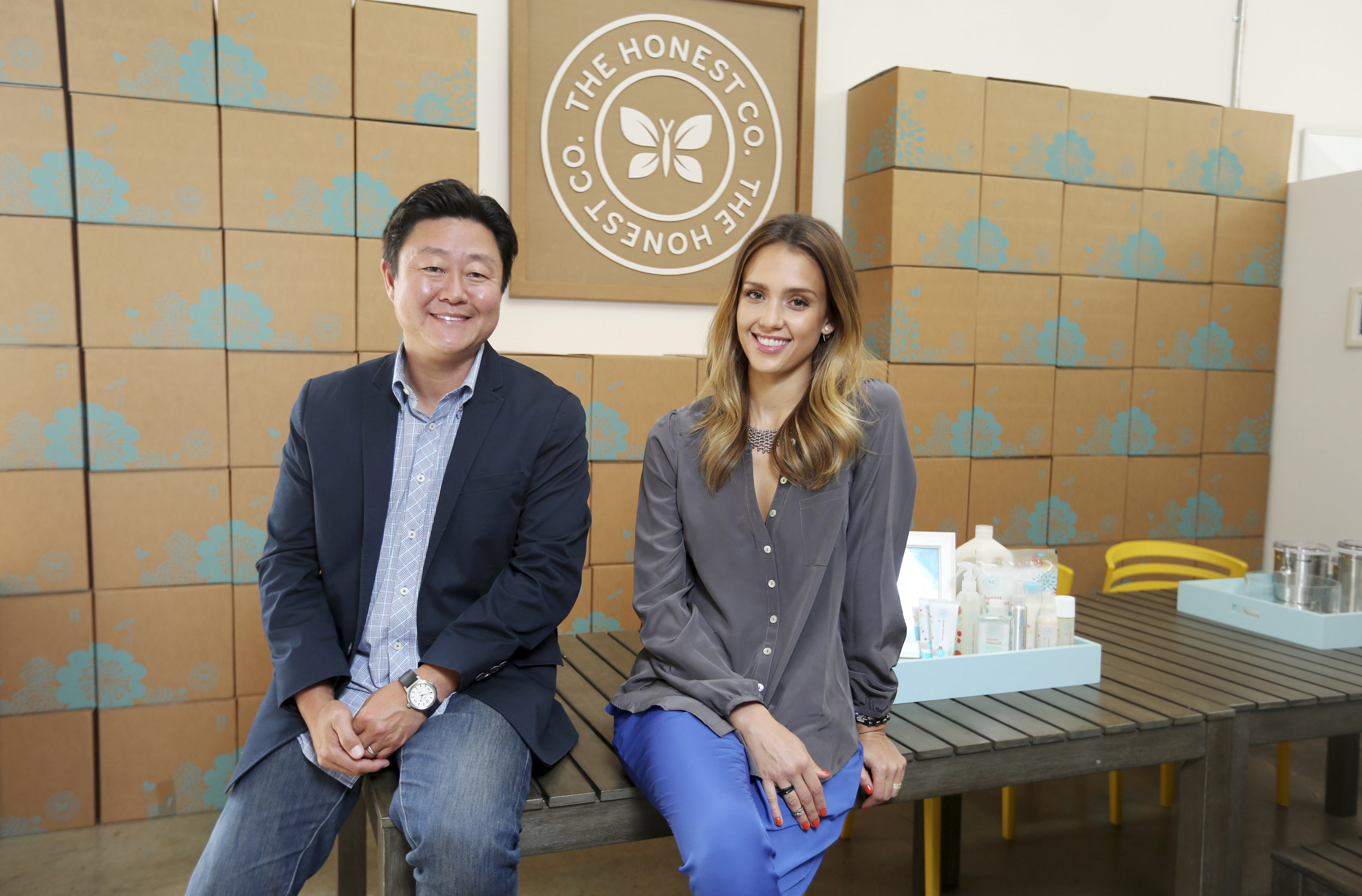 Brian Lee and Jessica Alba at the offices of The Honest Company in Santa Monica, Calif.