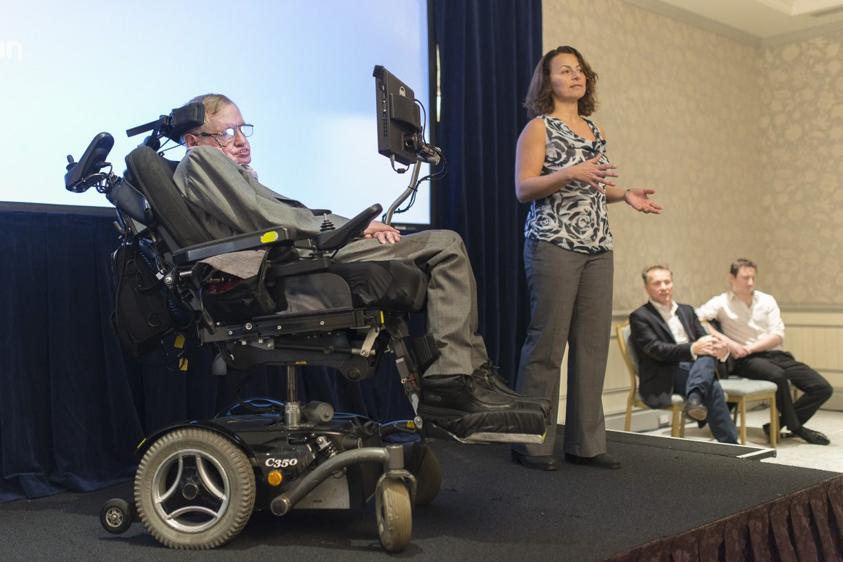 Professor Stephen Hawking and Intel engineer Lama Nachman discuss his communications system at a London event.