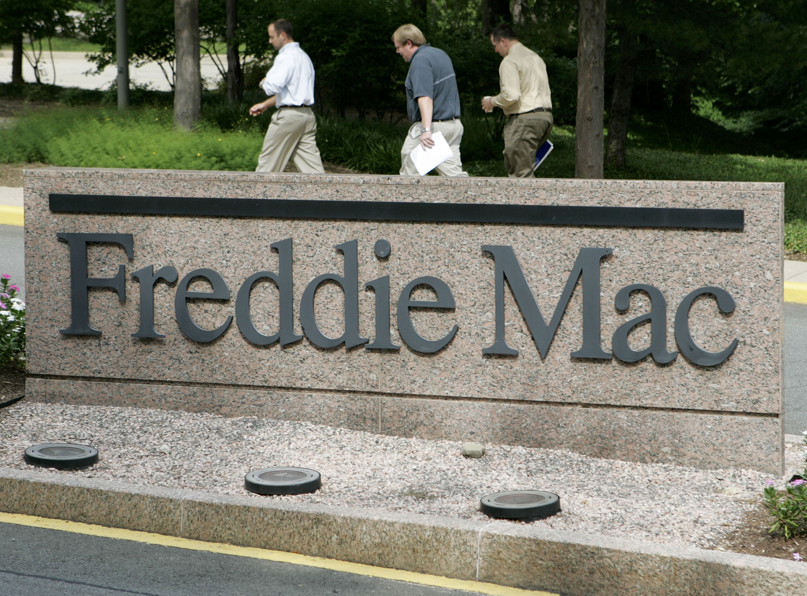 The corporate logo for Freddie Mac is seen at its headquarters building in McLean