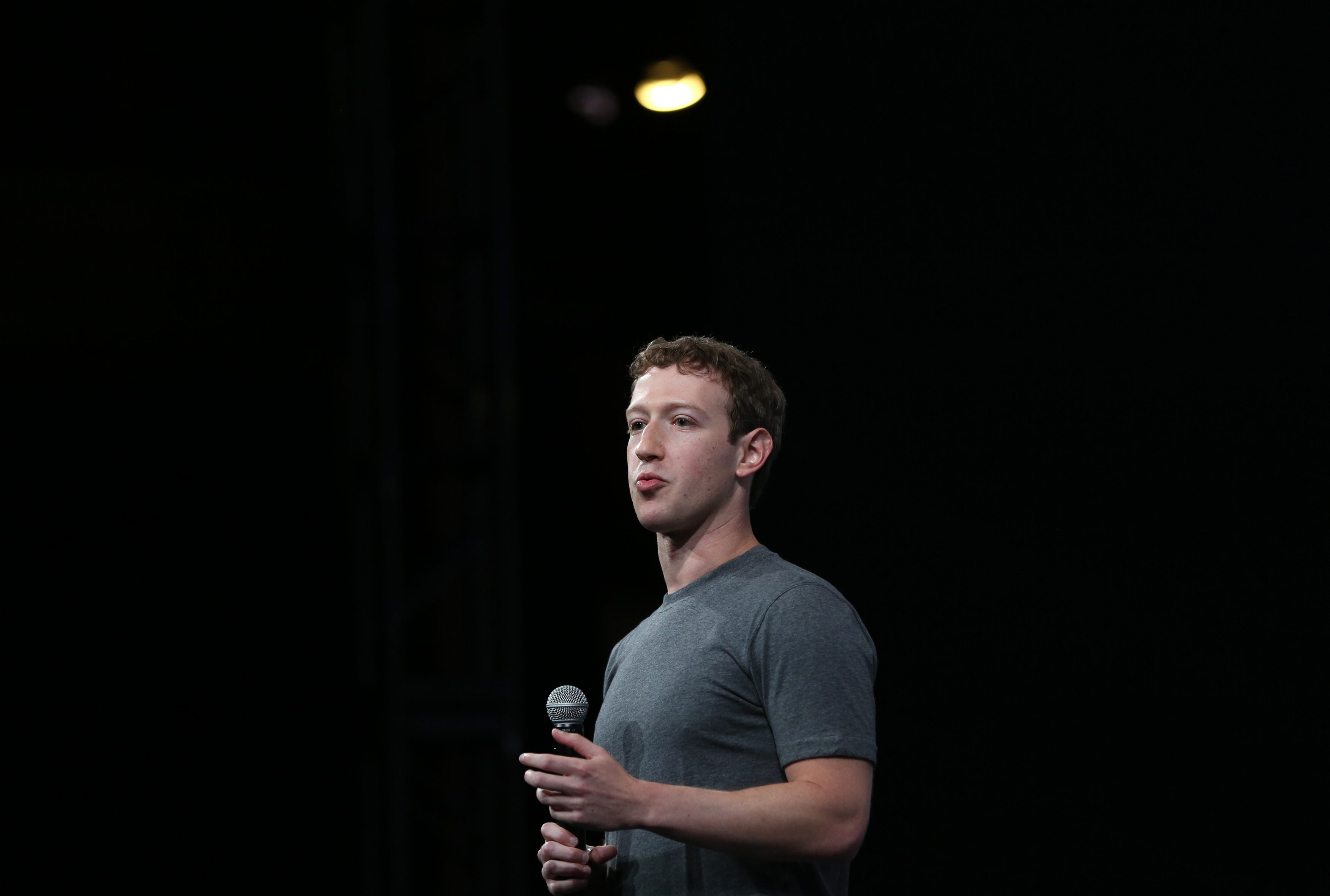 Facebook CEO Mark Zuckerberg gives his keynote address at Facebook's f8 developers conference in San Francisco