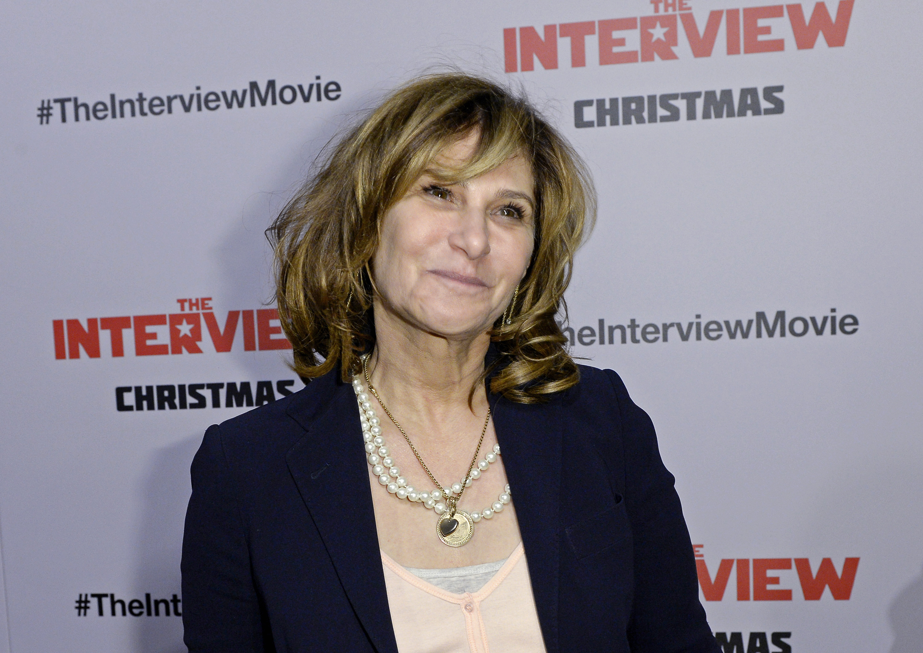 """Sony Pictures Entertainment Co-Chairman Amy Pascal poses during the premiere of """"The Interview"""" in Los Angeles"""