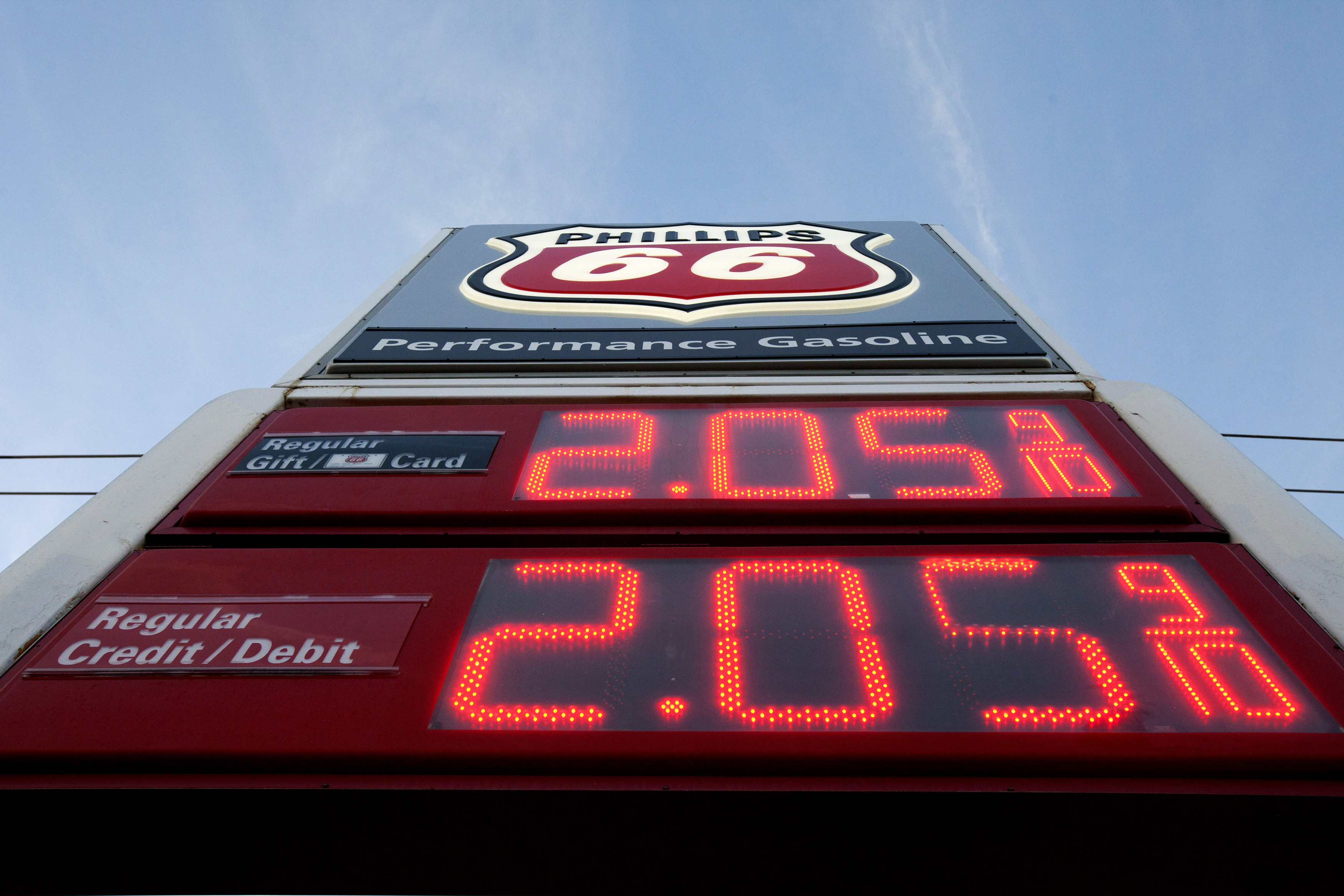 A gas price sign is seen at a Phillips 66 station on Westheimer Road in Houston, Texas