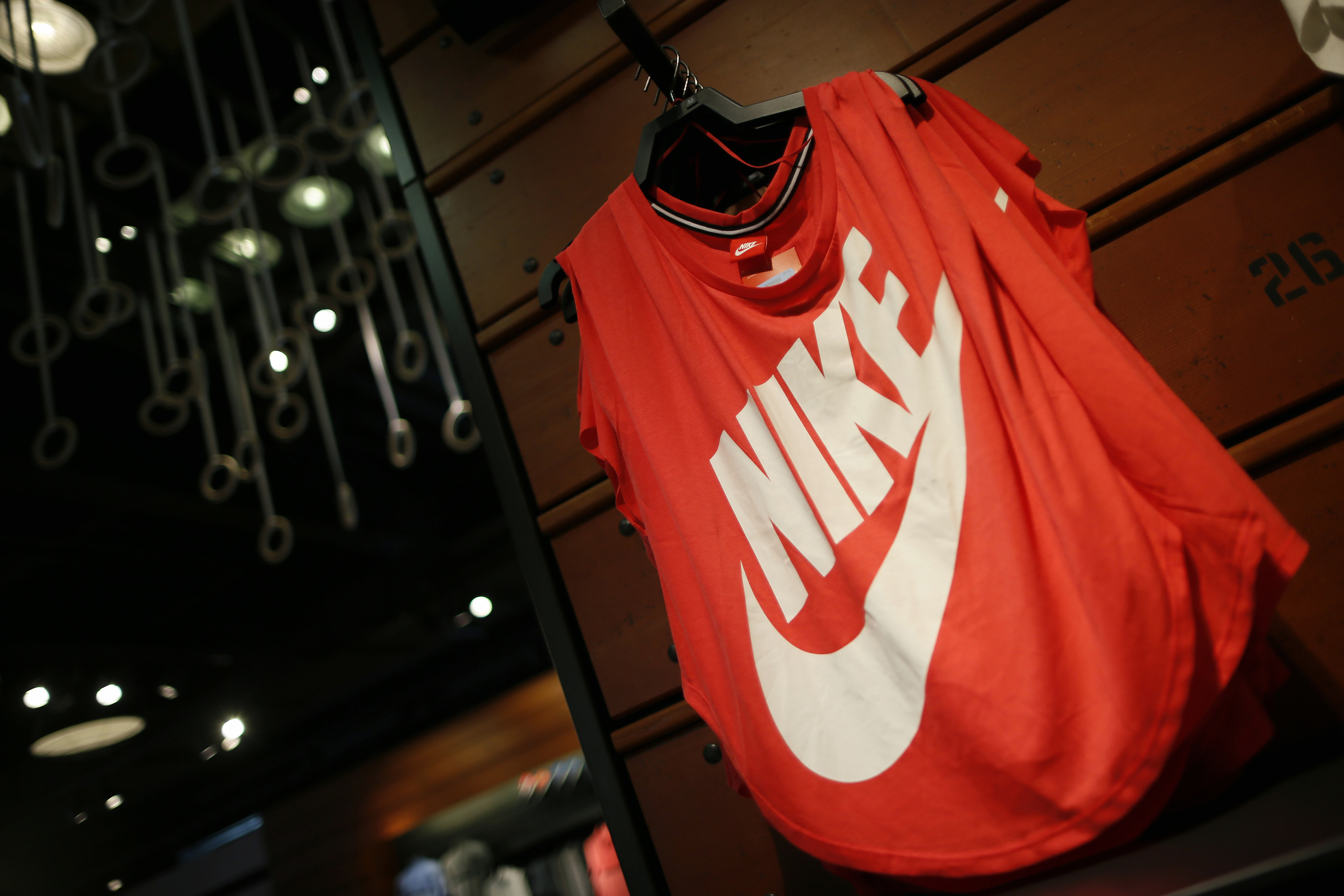 Clothes are displayed in the Nike store in Santa Monica
