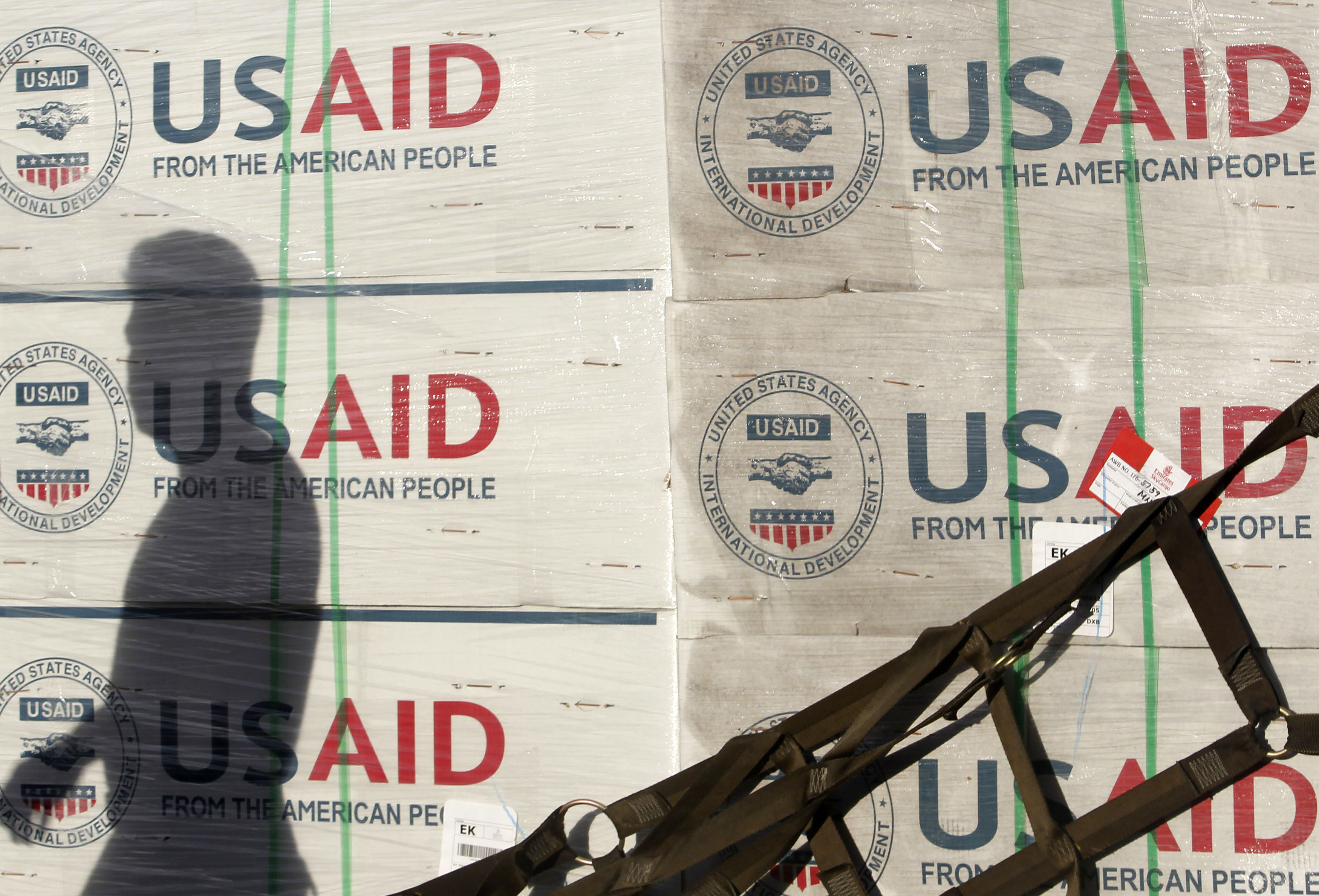 Boxes of relief items from USAID arrive for victims of super typhoon Haiyan, in Manila