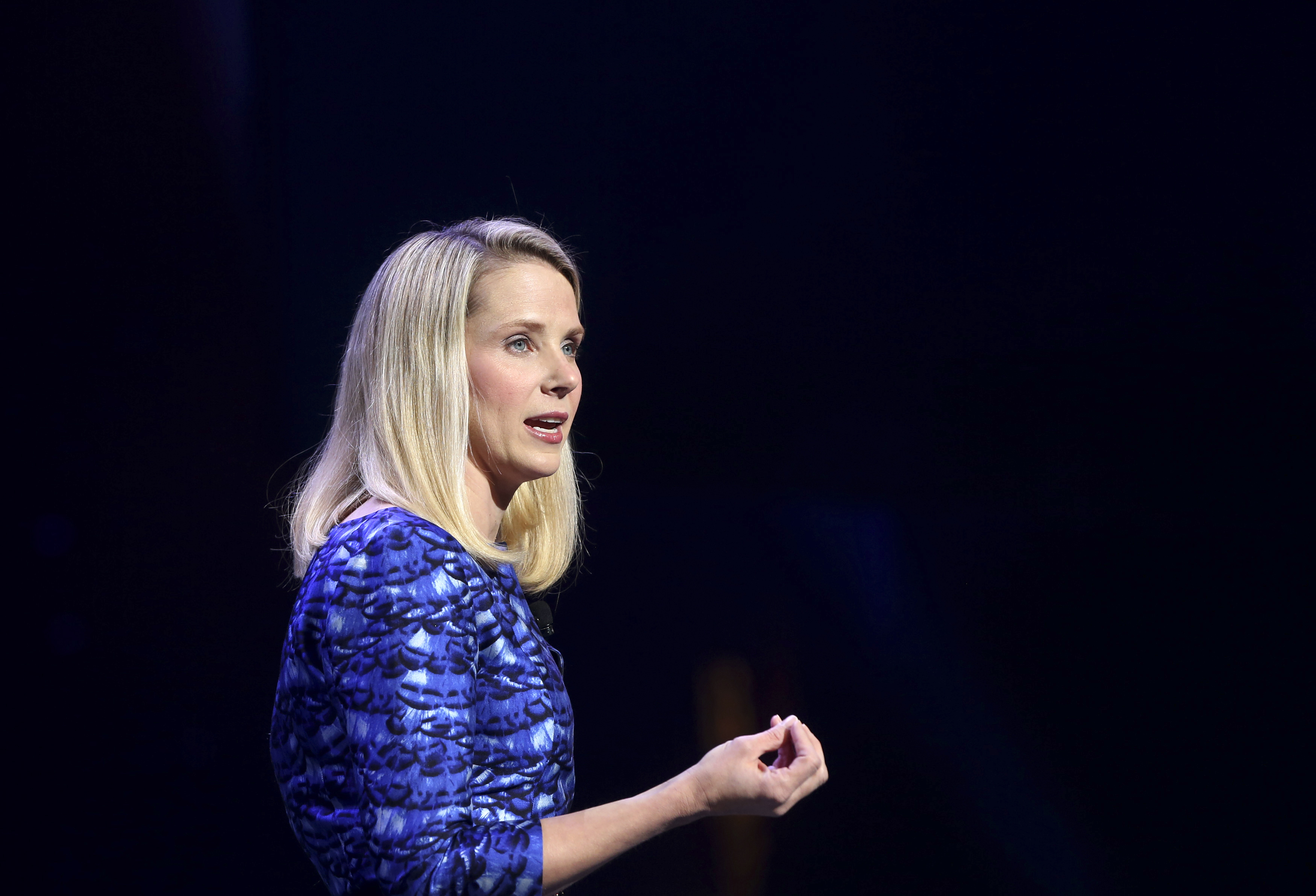 Yahoo CEO Marissa Mayer speaks during her keynote address at the annual Consumer Electronics Show (CES) in Las Vegas