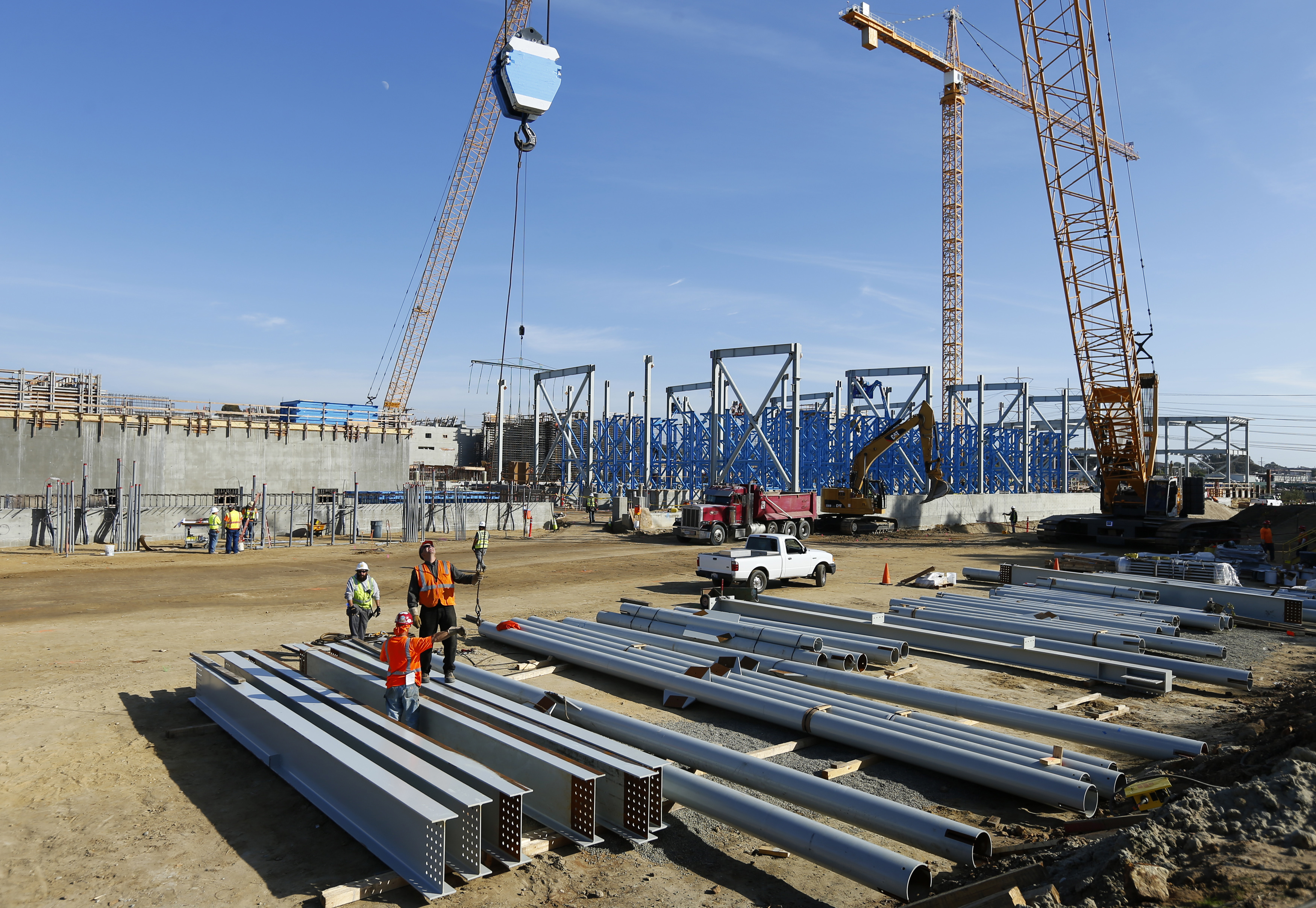 Construction continues on the Western Hemisphere's largest seawater desalination plant in Carlsbad