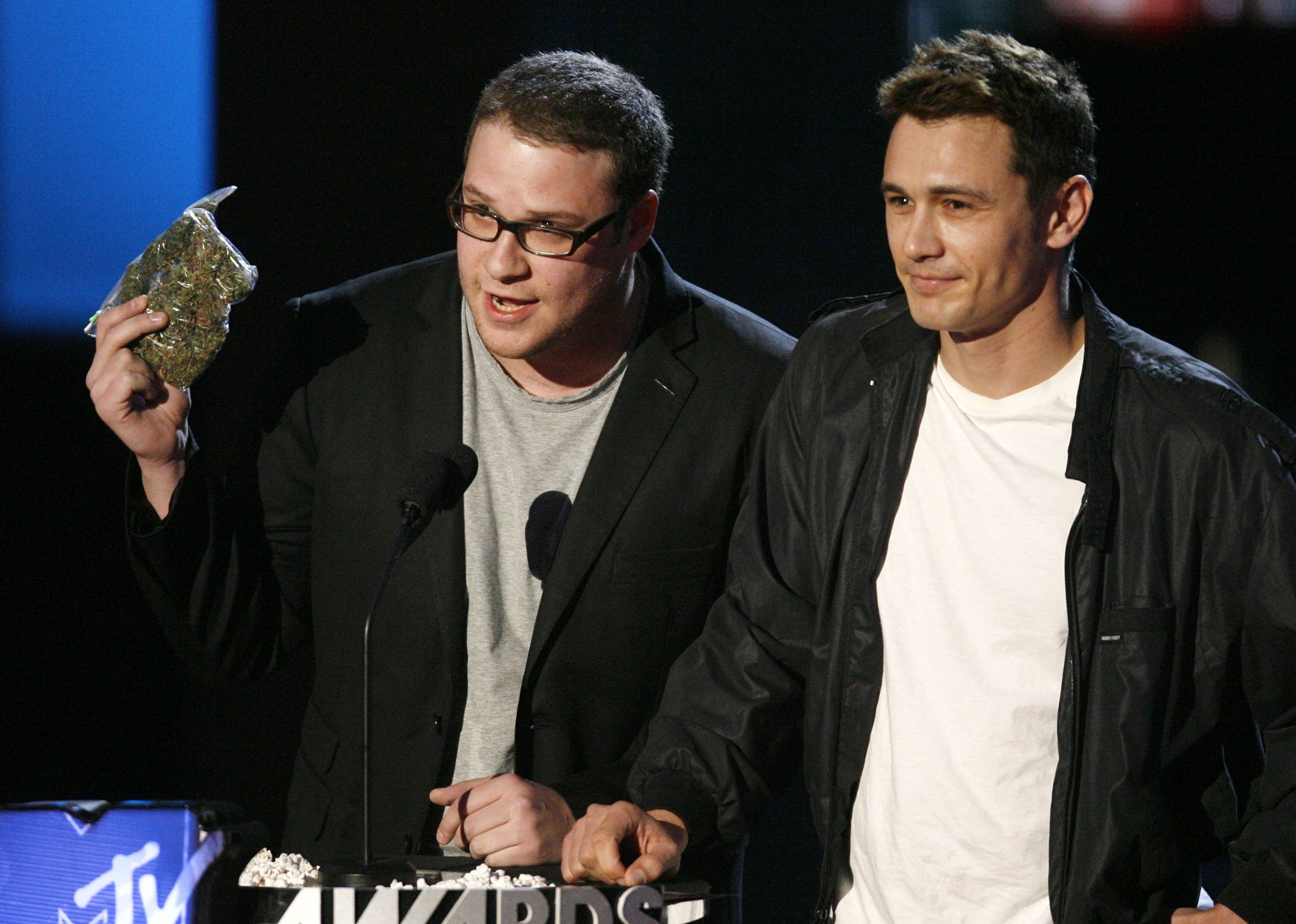 Seth Rogan and James Franco perform in a skit about marijuana at the 2008 MTV Movie Awards in Los Angeles