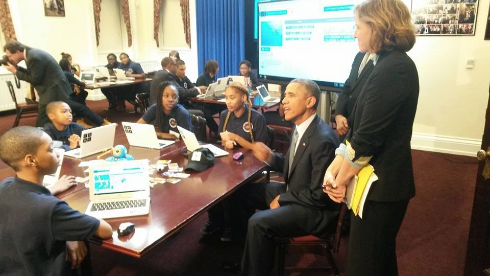 President Barack Obama participates in Hour of Code at the White House on December 8, 2014 with middle school students from Newark, New Jersey's South Seventeenth Street School, Code.org co-founder Hadi Partovi and CTO of the U.S., Megan Smith.