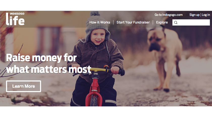 The Indiegogo Life homepage.
