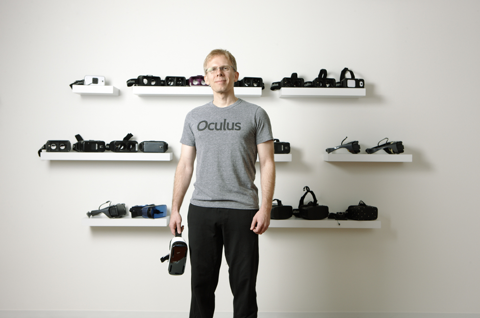 John Carmack with a range of Oculus prototypes in his Dallas office.