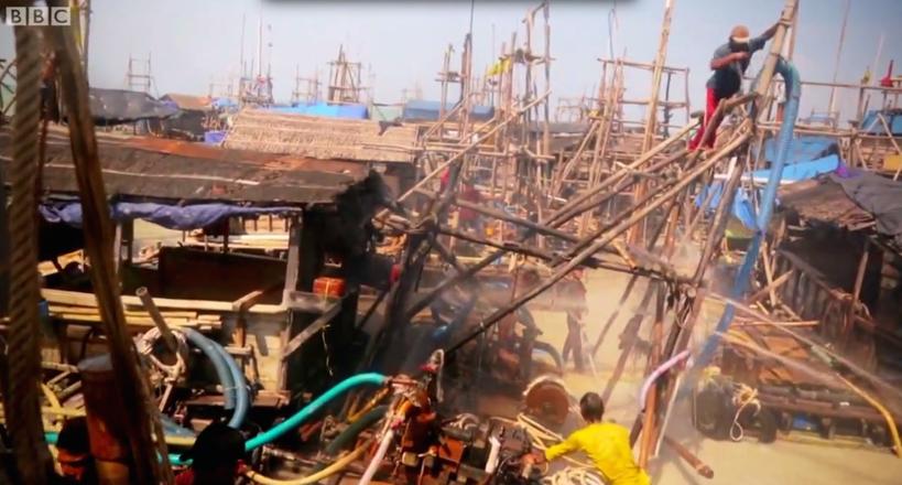 Mining tin ore from a man-made bamboo island. Source: BBC Panorama