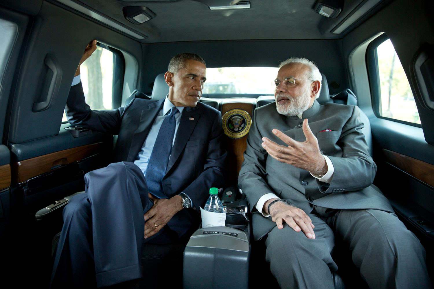 "Sept. 30, 2014""I asked the President if I could ride in his vehicle as he traveled to the Martin Luther King, Jr. Memorial with Prime Minister Narendra Modi of India."" (Official White House Photo by Pete Souza)This official White House photograph is being made available only for publication by news organizations and/or for personal use printing by the subject(s) of the photograph. The photograph may not be manipulated in any way and may not be used in commercial or political materials, advertisements, emails, products, promotions that in any way suggests approval or endorsement of the President, the First Family, or the White House."