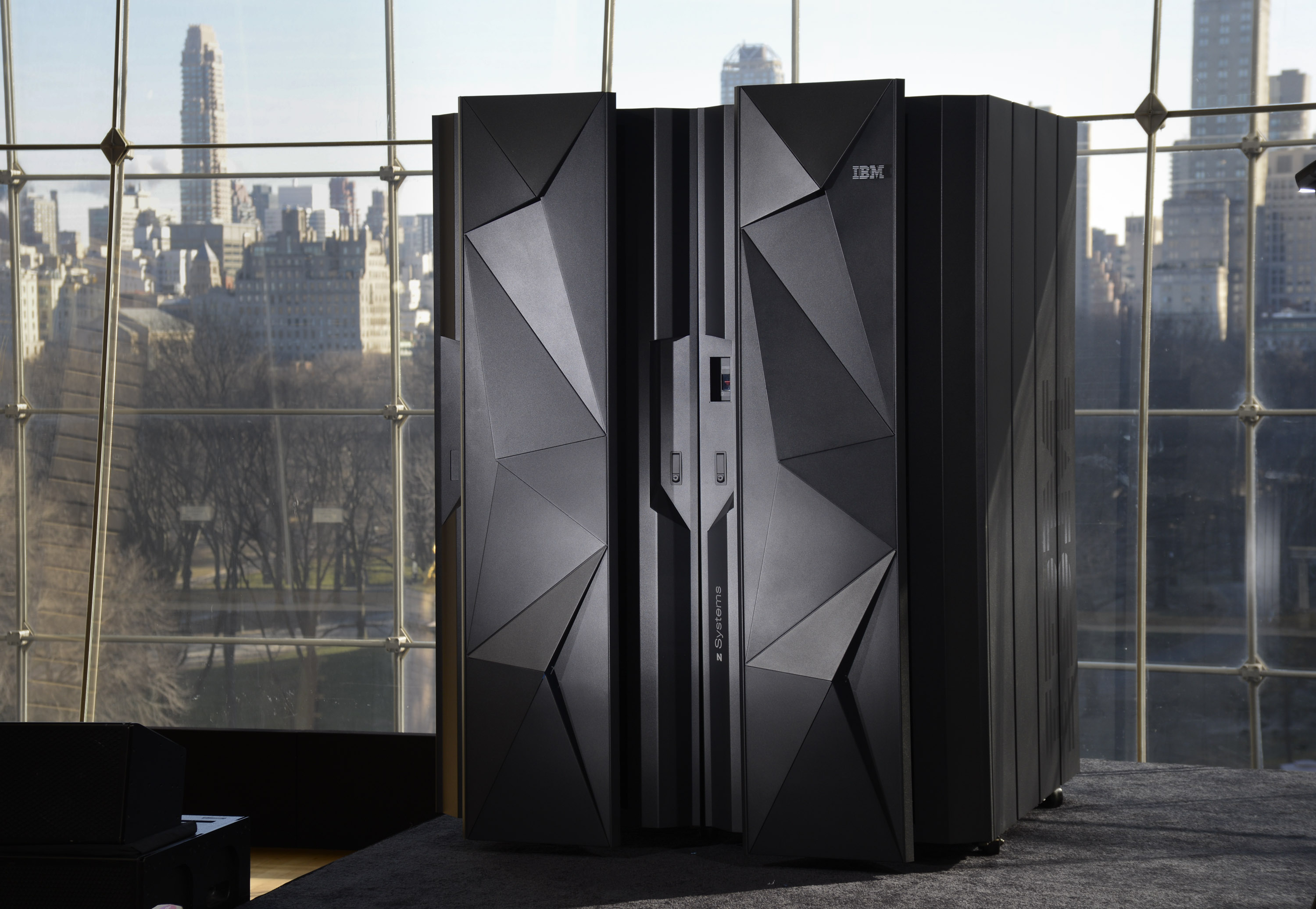 New York City -  Ross Mauri, manager IBM mainframe systems, poses with new System Z machine on Wednesday, January 14, 2015.  (PHOTO: Augusto F. Menezes/Feature Photo Service)
