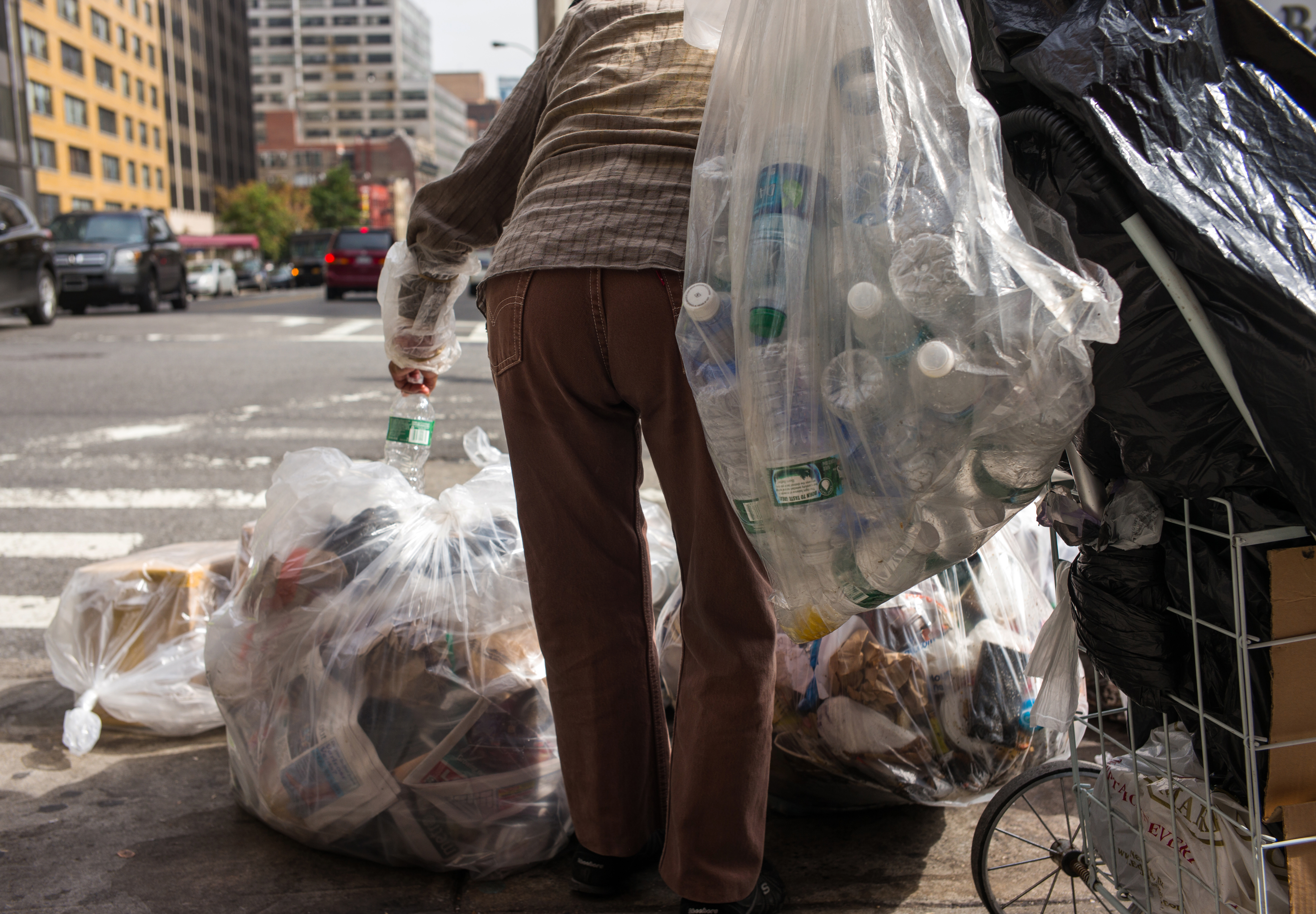 Woman Collects Refundable Bottles In Brooklyn