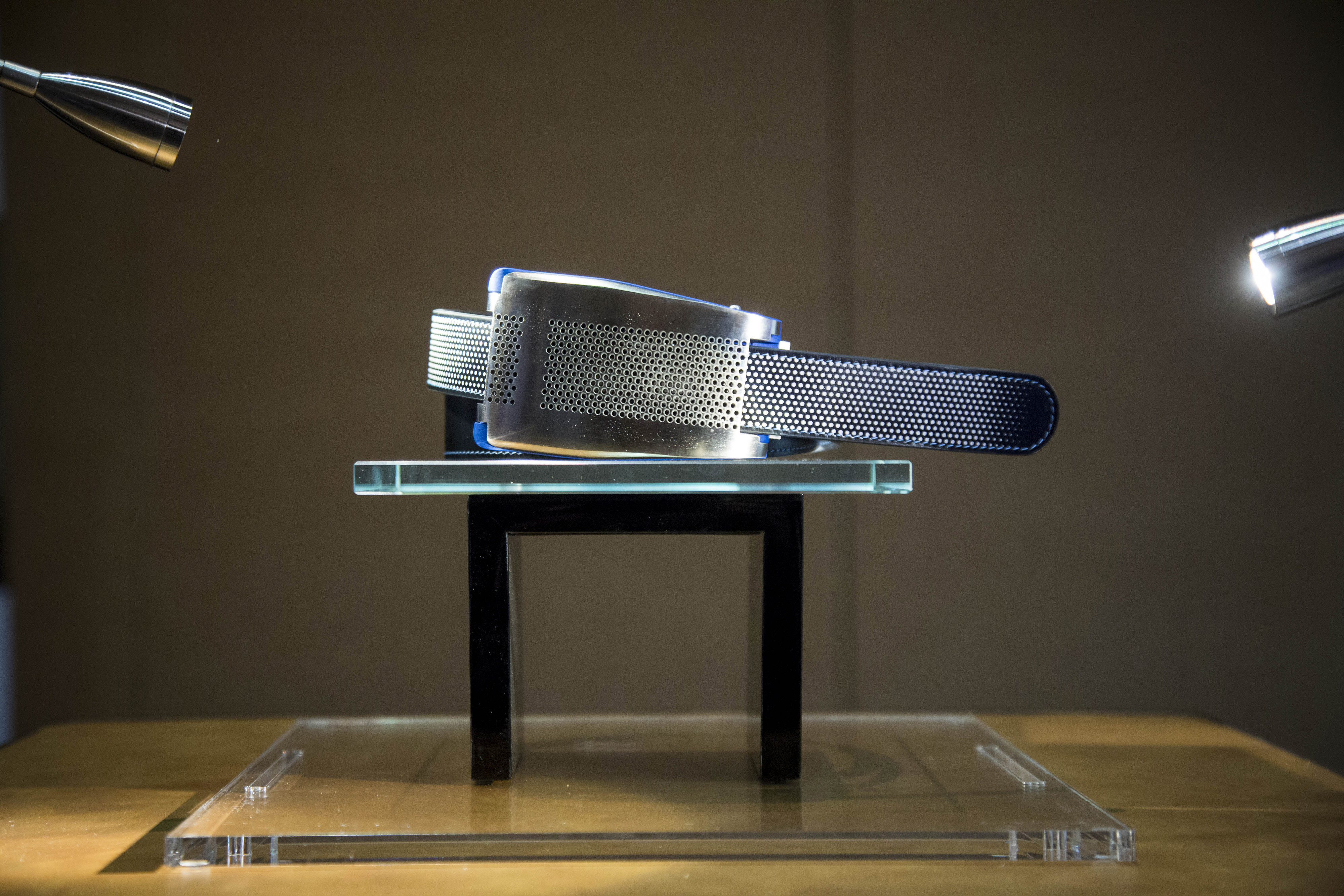 The Emiota smart belt is displayed at the CES Unveiled press event ahead of the 2015 Consumer Electronics Show in Las Vegas on January 4, 2015.
