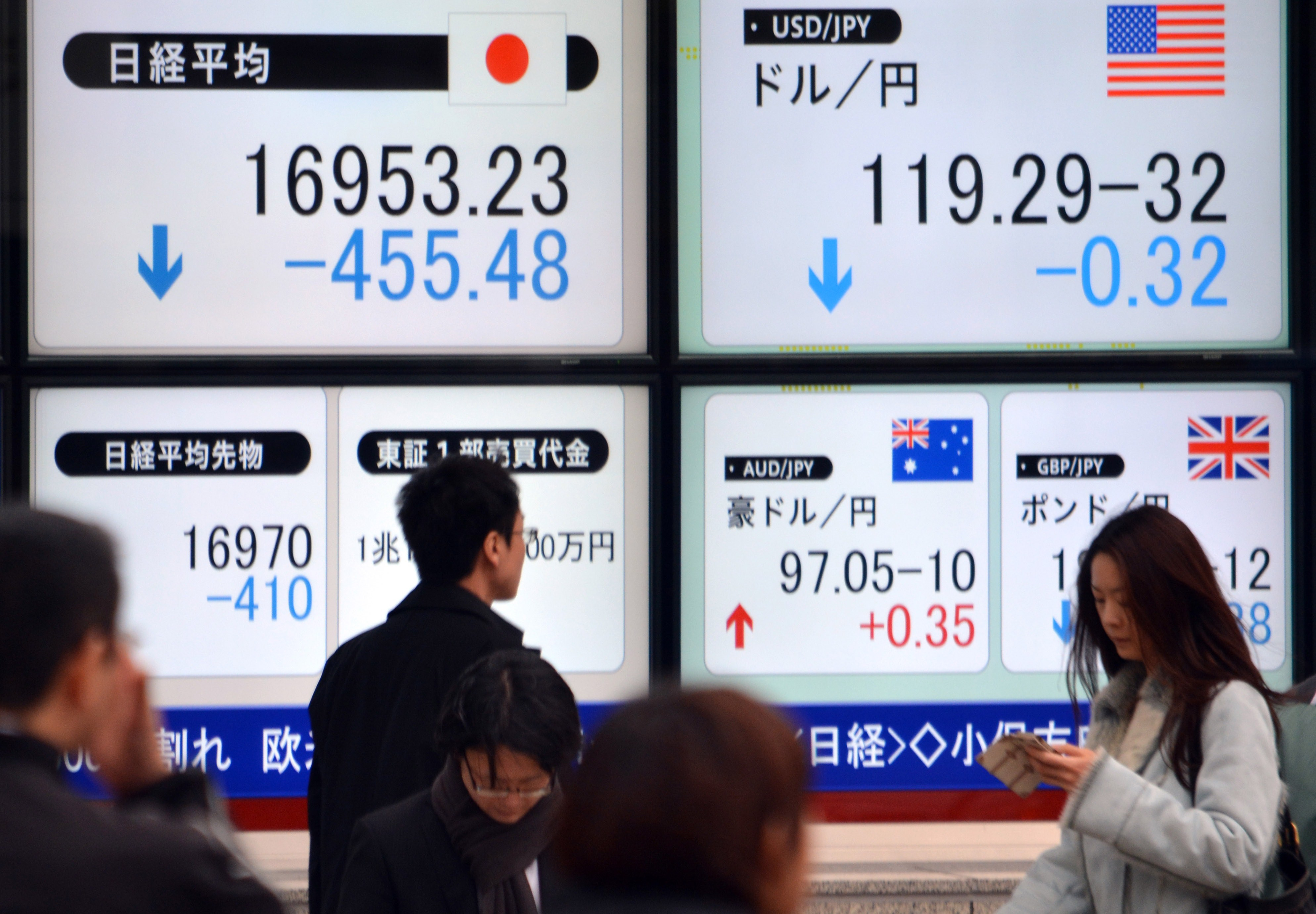 Pedestrians in Tokyo pass a share prices board and a board showing the foreign exchange rate against the US dollar.