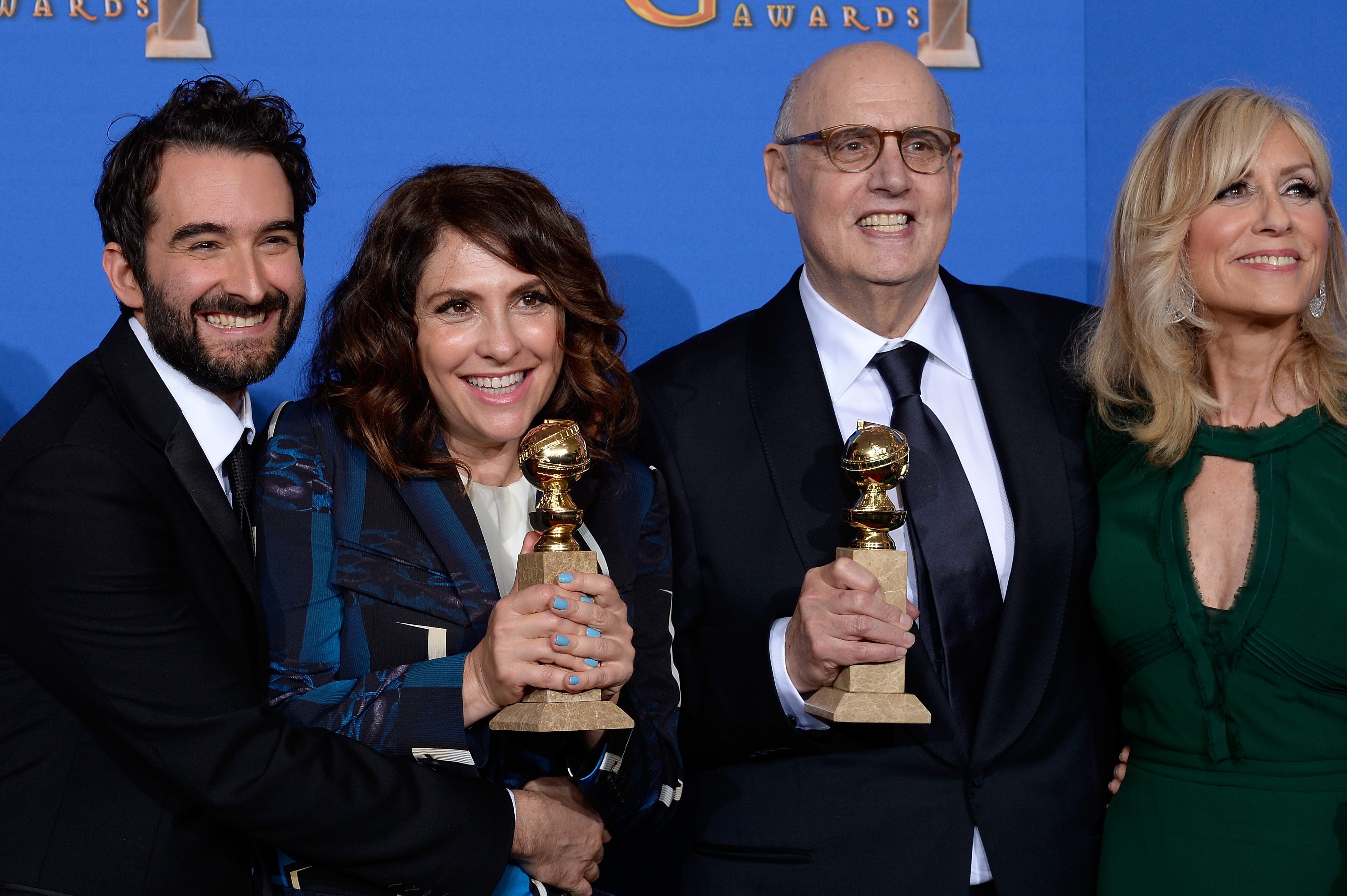 LOS ANGELES, CA - JANUARY 11: 72nd ANNUAL GOLDEN GLOBE AWARDS -- Pictured: (l-r) in the press room at the 72nd Annual Golden Globe Awards held at the Beverly Hilton Hotel on January 11, 2015. (Photo by: Kevork Djansezian/NBC/NBCU Photo Bank)