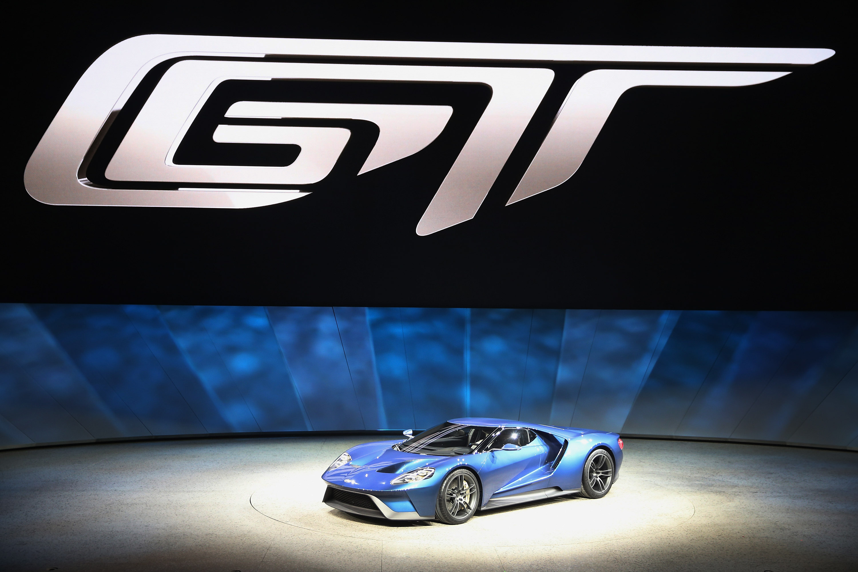 DETROIT, MI - JANUARY 12:  Ford introduces the new GT at the North American International Auto Show (NAIAS) on January 12, 2015 in Detroit, Michigan. The auto show opens to the public January  17-25.  (Photo by Scott Olson/Getty Images)