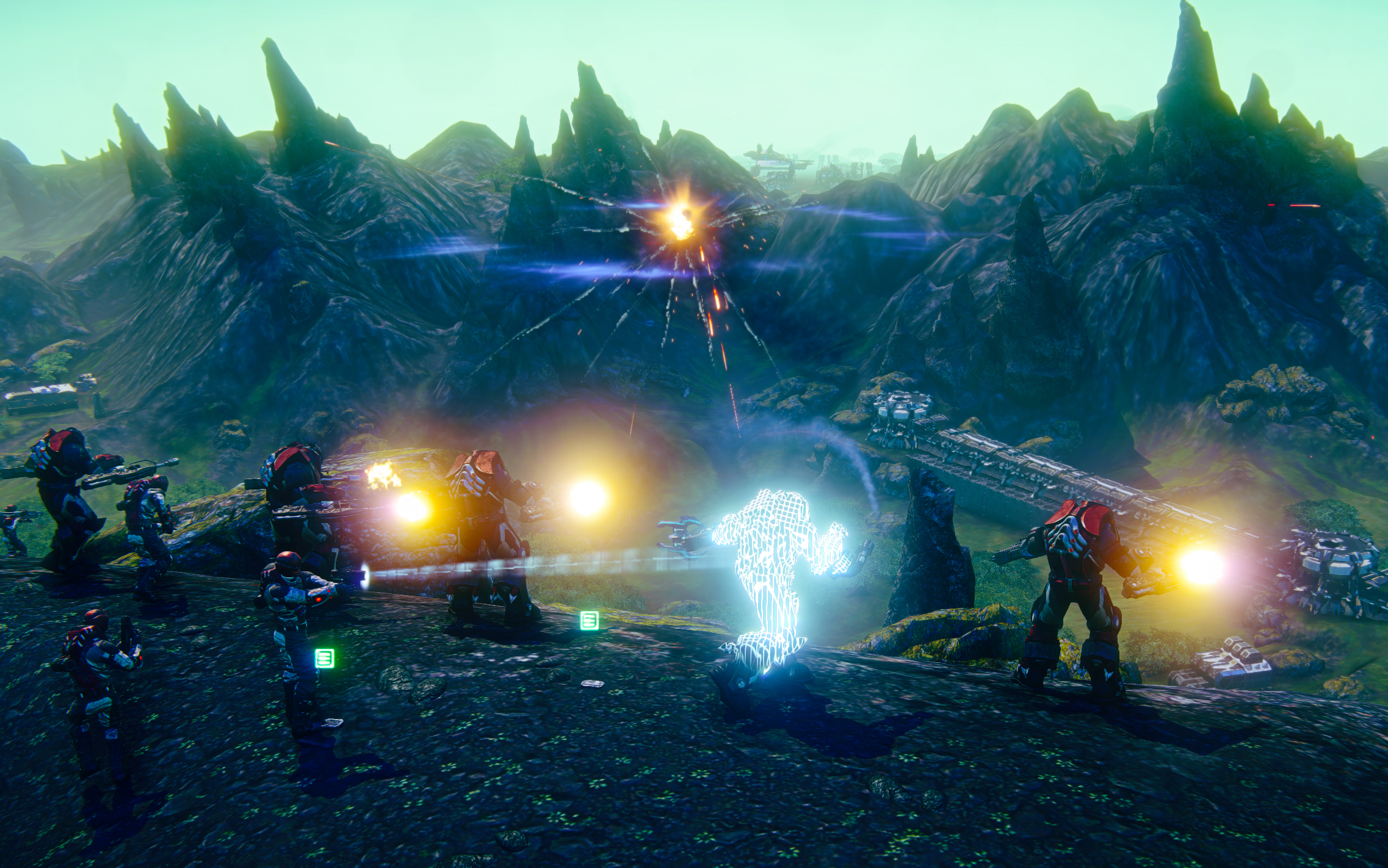 A screenshot from PlanetSide 2, which is expected to launch this month on Sony's PlayStation 4 console.