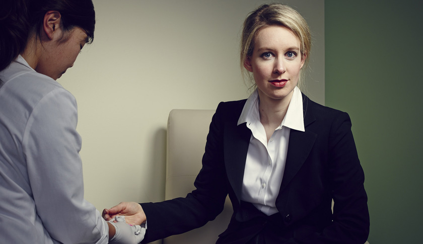 Theranos founder and CEO Elizabeth Holmes in Palo Alto in January, undergoing one of her company's finger-stick diagnostic tests.