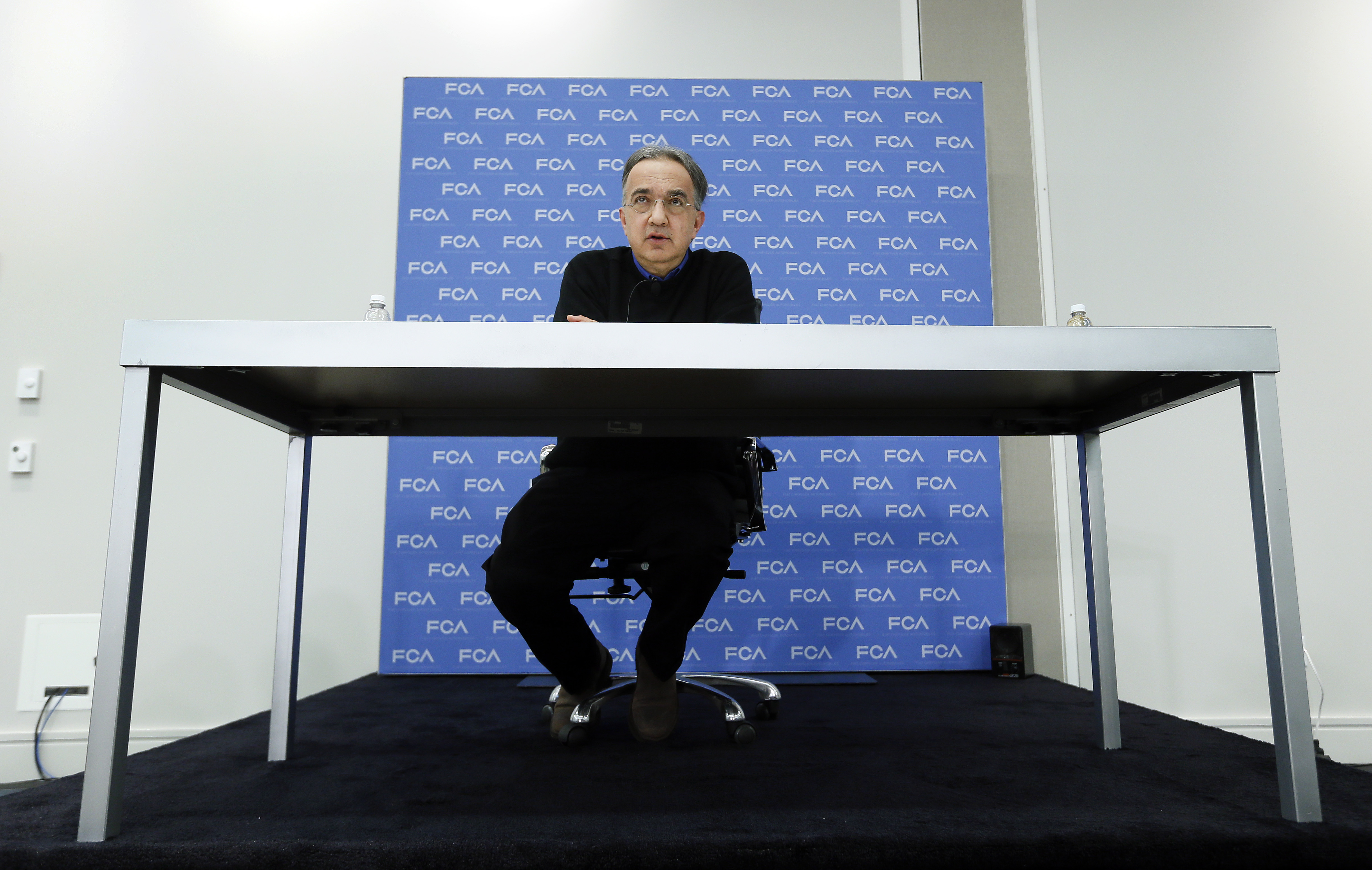Sergio Marchionne, Chief Executive Officer, Fiat Chrysler Automobiles, speaks at media previews for the North American International Auto Show,  on Monday, Jan. 12, 2015.