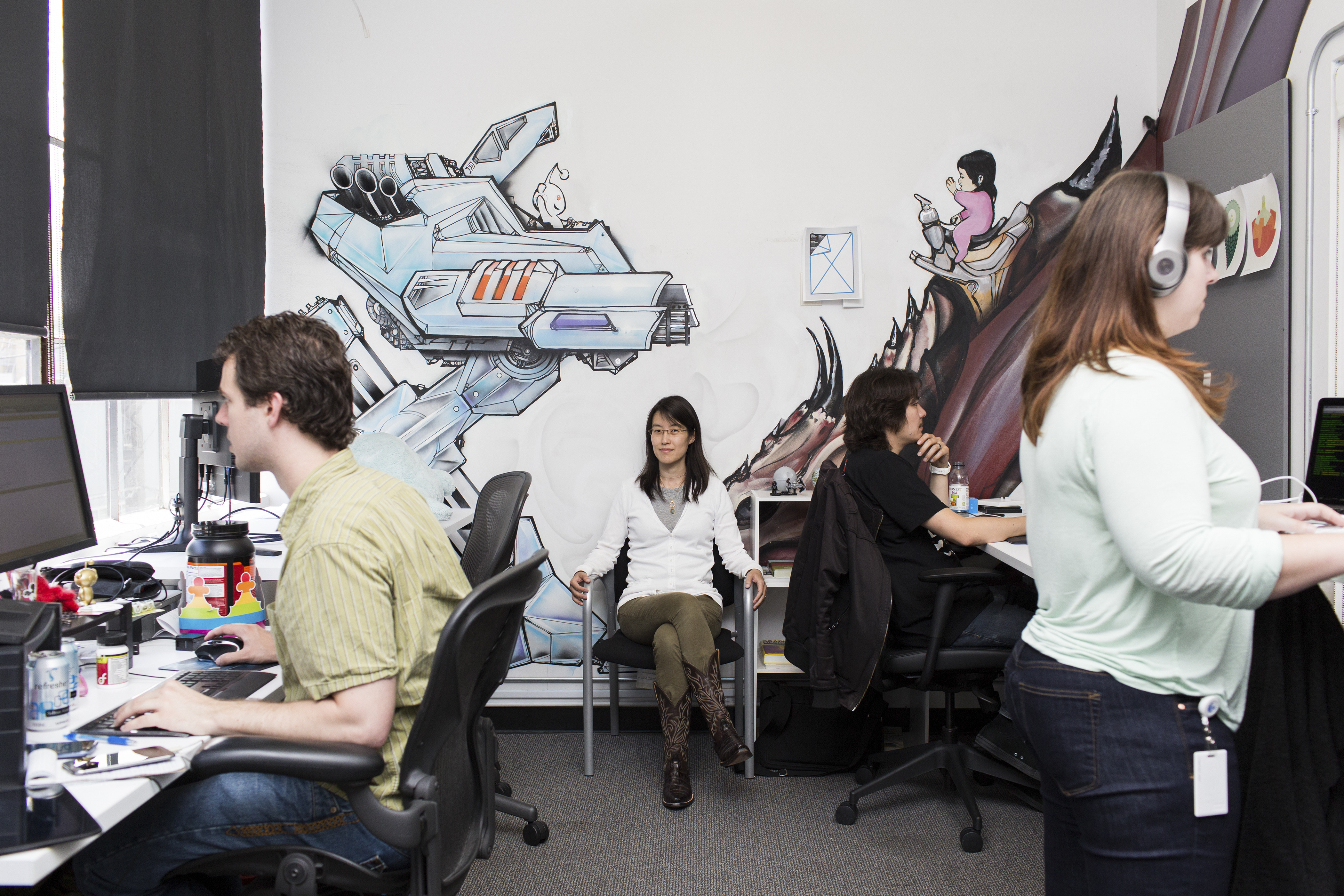 Ellen Pao, center, Reddit?s business and partnerships strategist, at the popular website's offices in San Francisco.