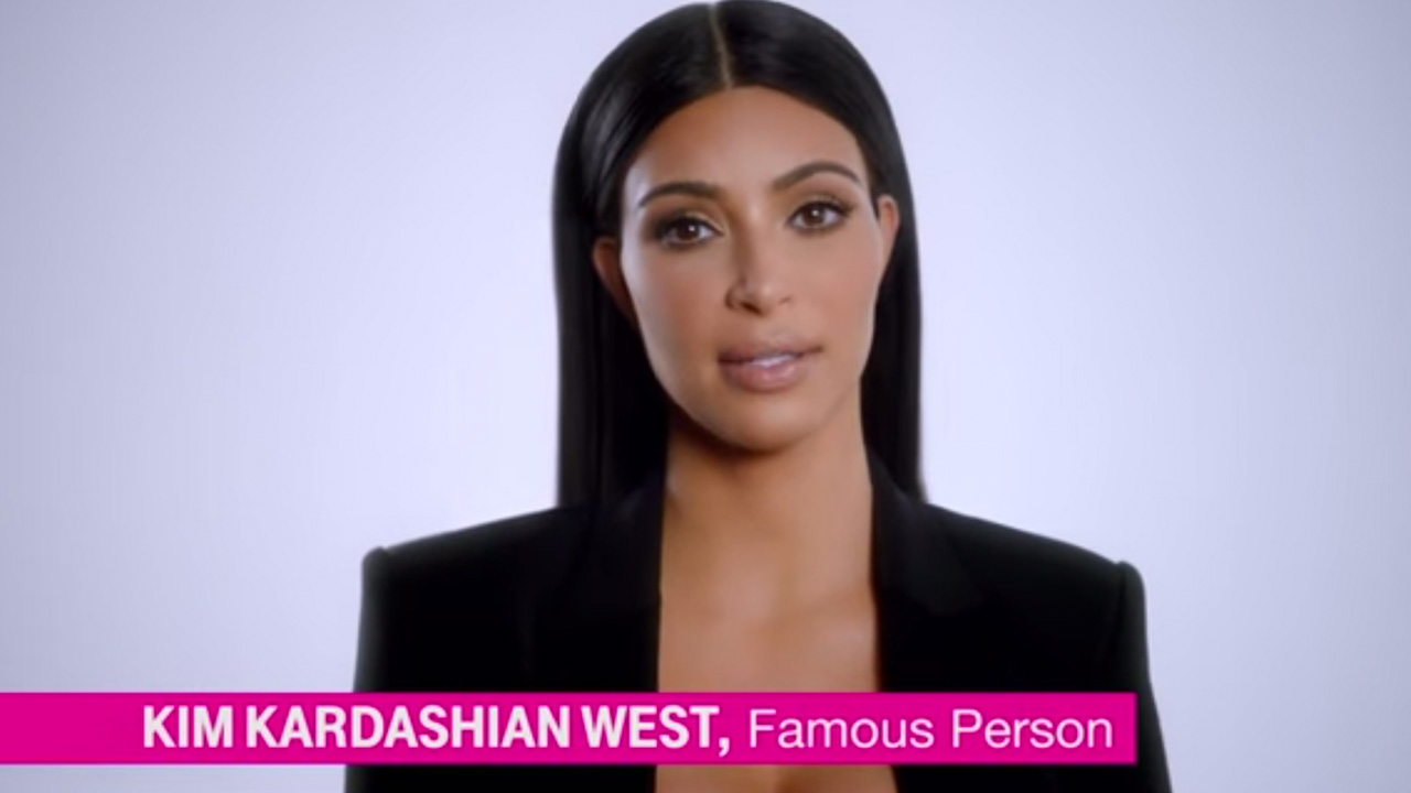 Kim Kardashian in a T-Mobile advertisement that ran during the 2015 Super Bowl.