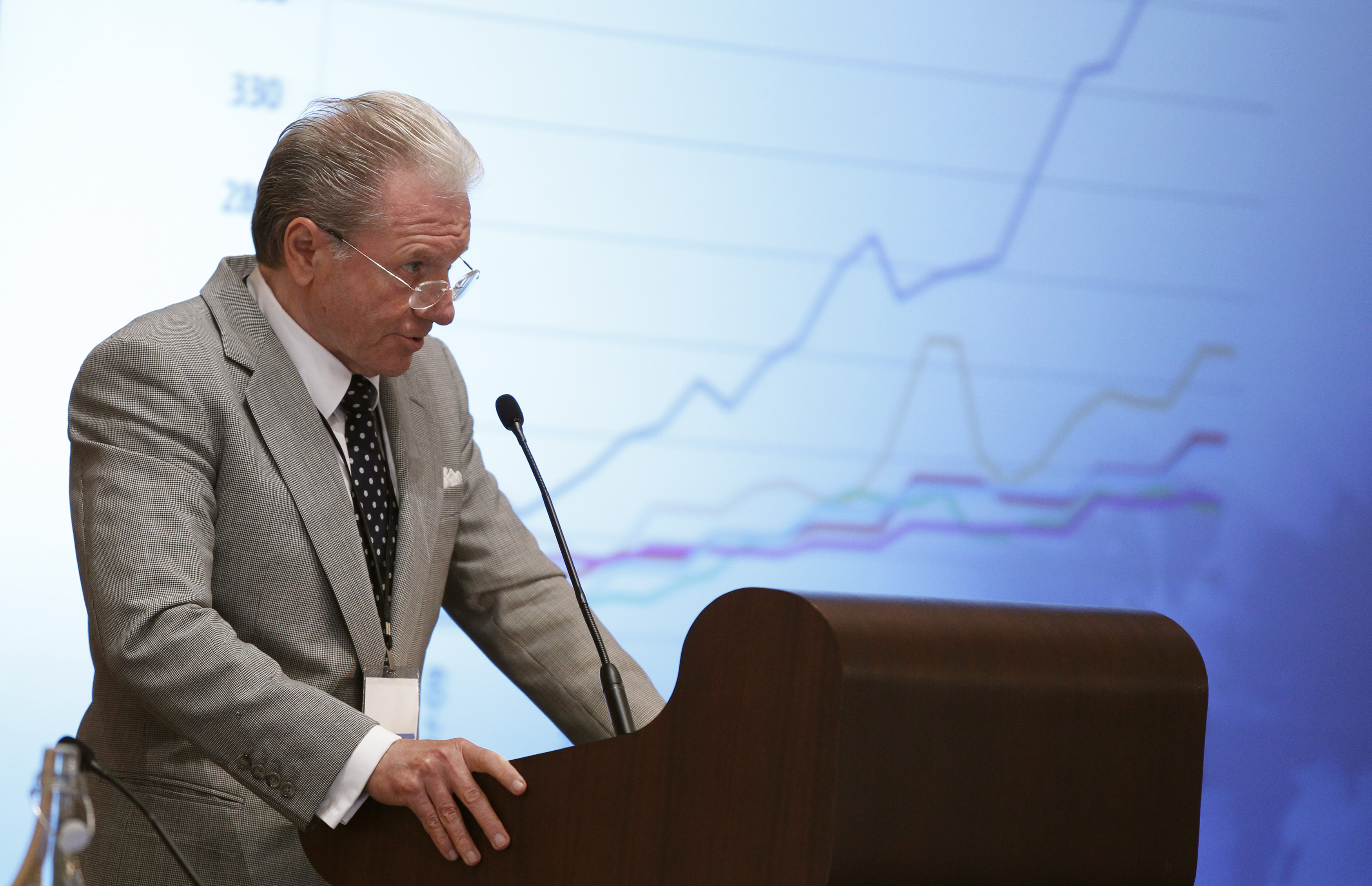 Thomas Peterffy, founder and CEO of Interactive Brokers Group Inc., speaks during the Sandler O'Neill + Partners global exchange and brokerage conference in New York