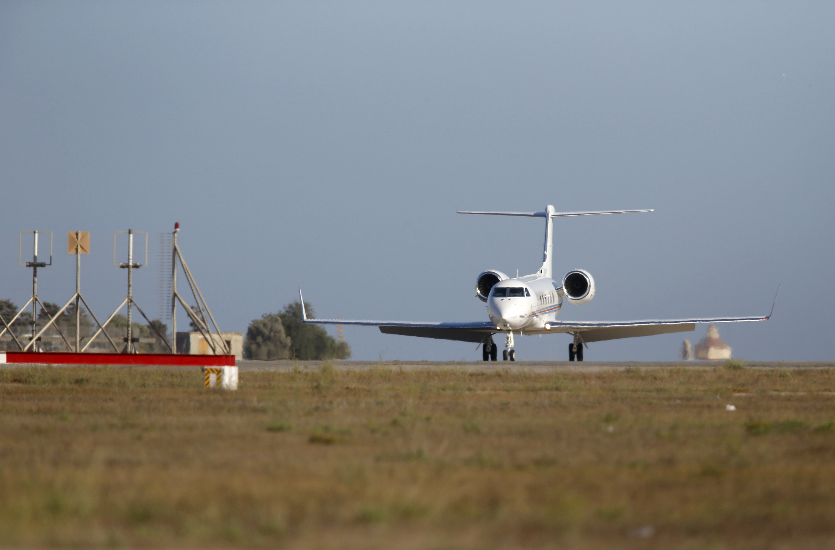A Gulfstream G450 private jet with U.S. actor Brad Pitt onboard arrives at Malta International Airport