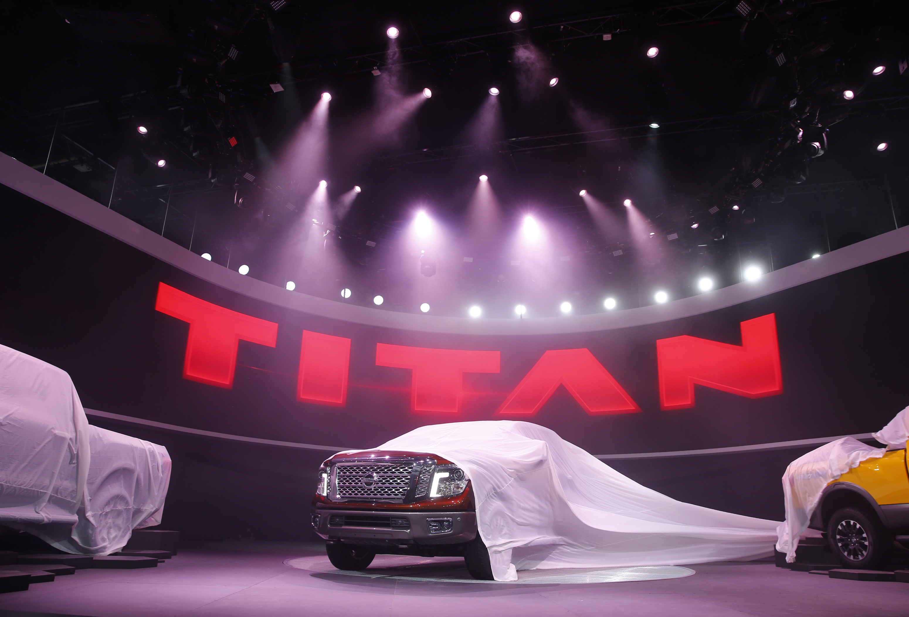 The 2016 Nissan Titan pickup truck is unveiled at the first press preview day of the North American International Auto Show in Detroit