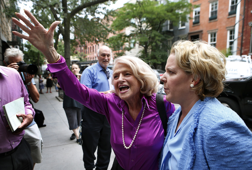 "Edith ""Edie"" Windsor reacts to cheers as she arrives for a news conference following the U.S. Supreme Court 5-4 ruling striking down as unconstitutional the Defense of Marriage Act, in New York"