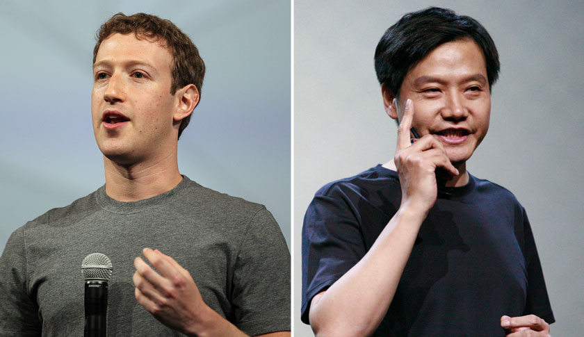 Facebook Inc. CEO and founder Mark Zuckerberg, left and Xiaomi Inc. CEO Lei Jun.