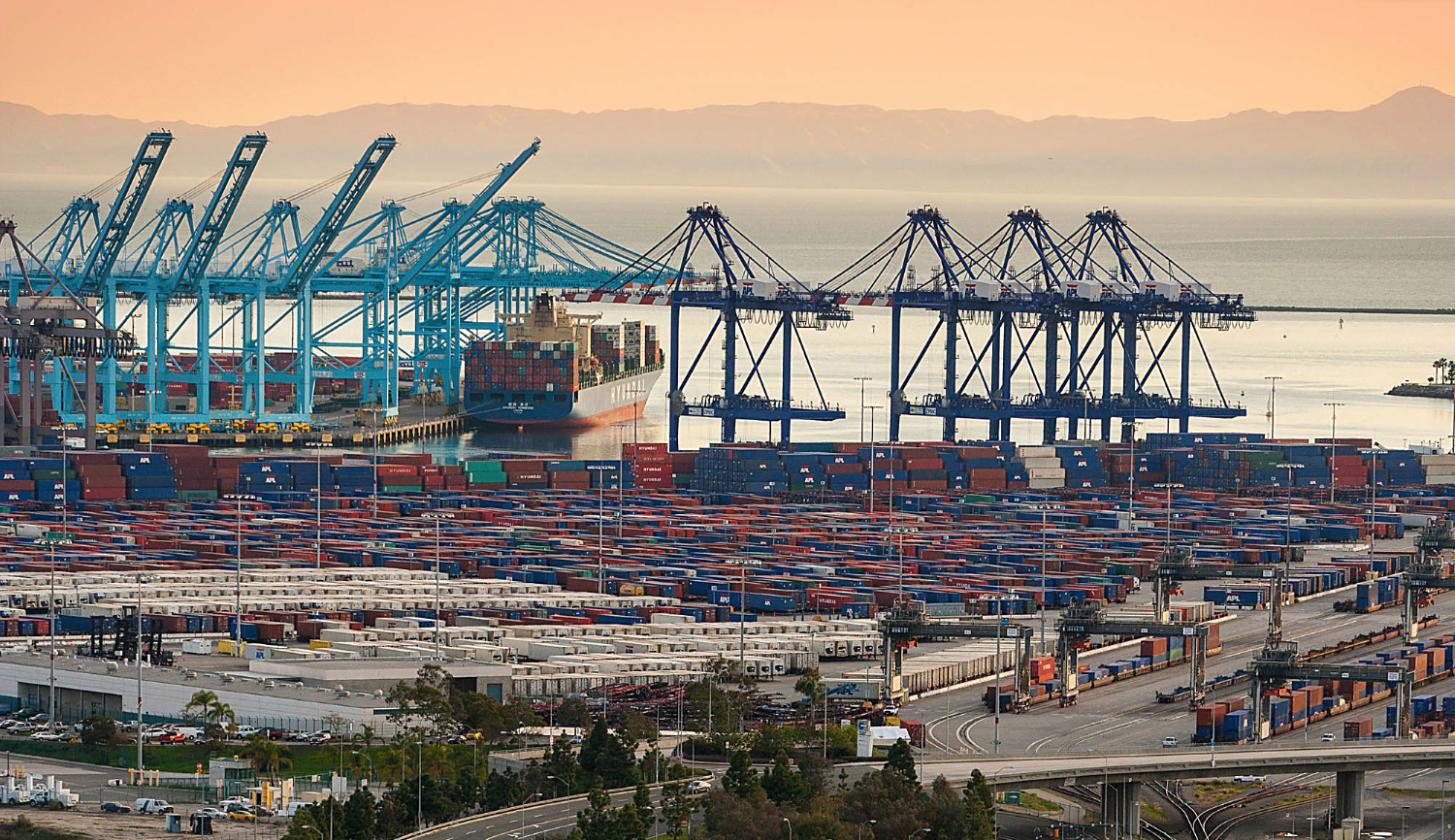 CROPPED: Aerial Views Of The $2.4 Billion Alameda Corridor Rail Cargo Expressway Project