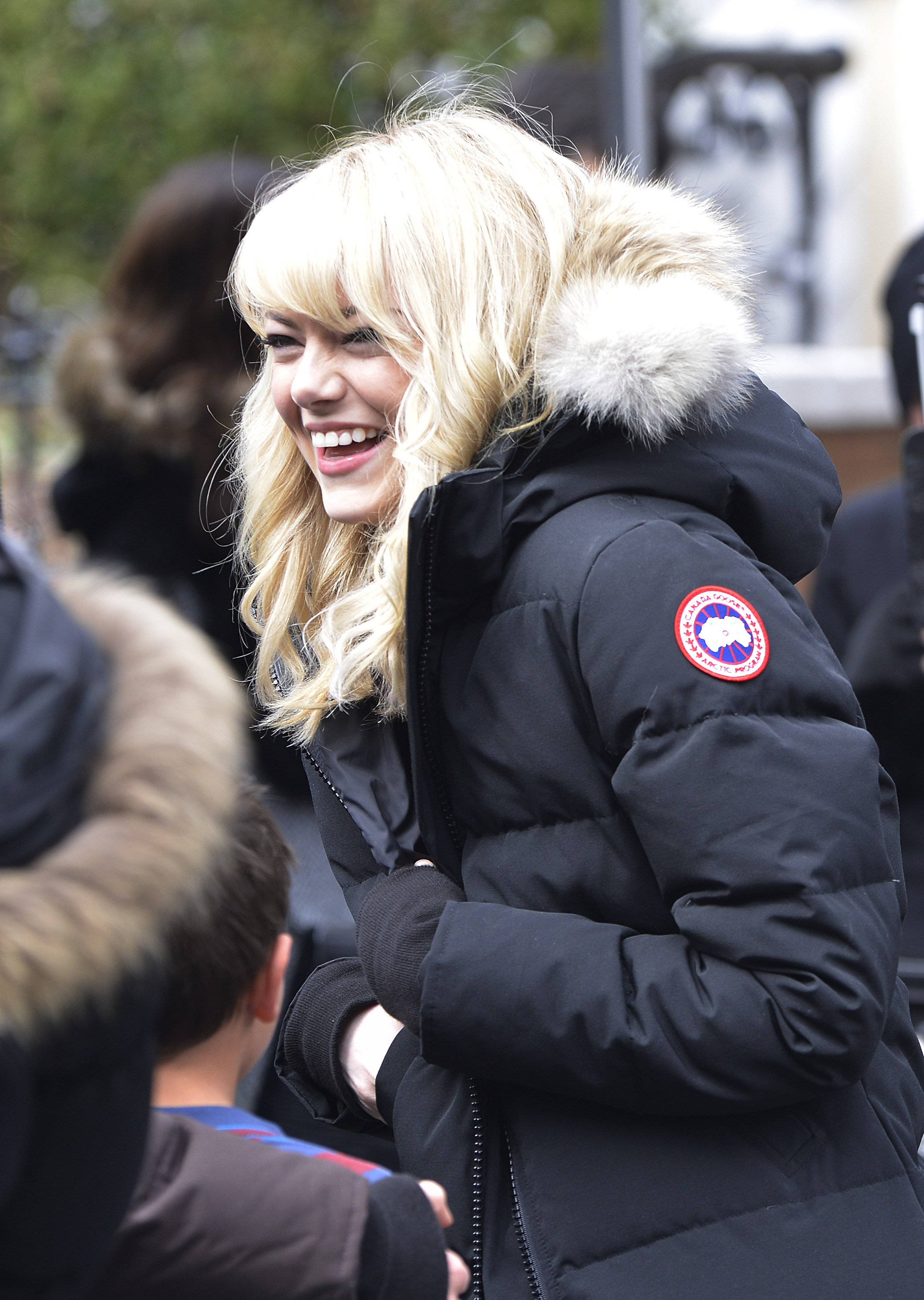 Emma Stone on the set of 'The Amazing Spiderman 2' in New York City.