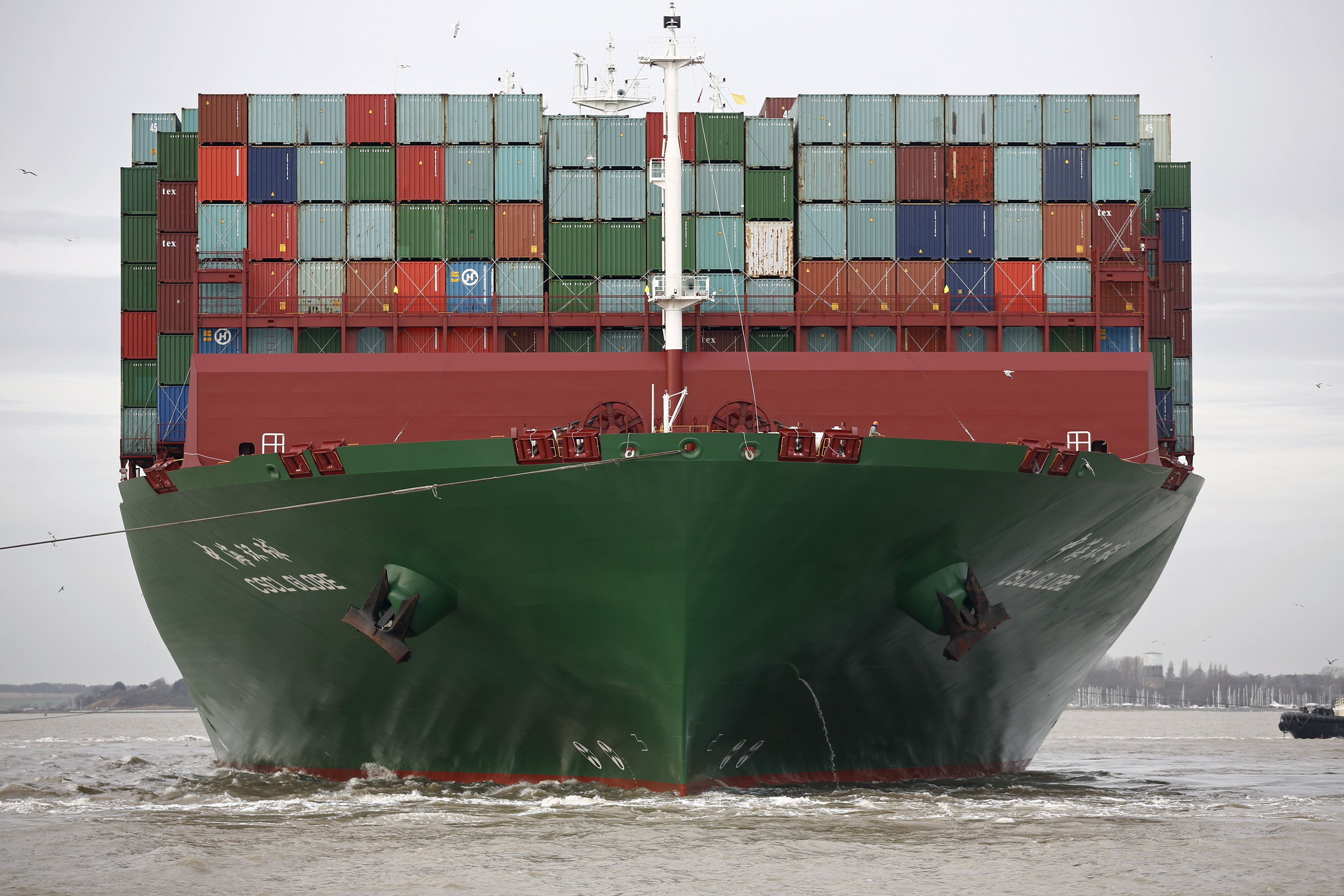 World's Largest Container Ship The CSCL Globe Docks At Felixstowe Port