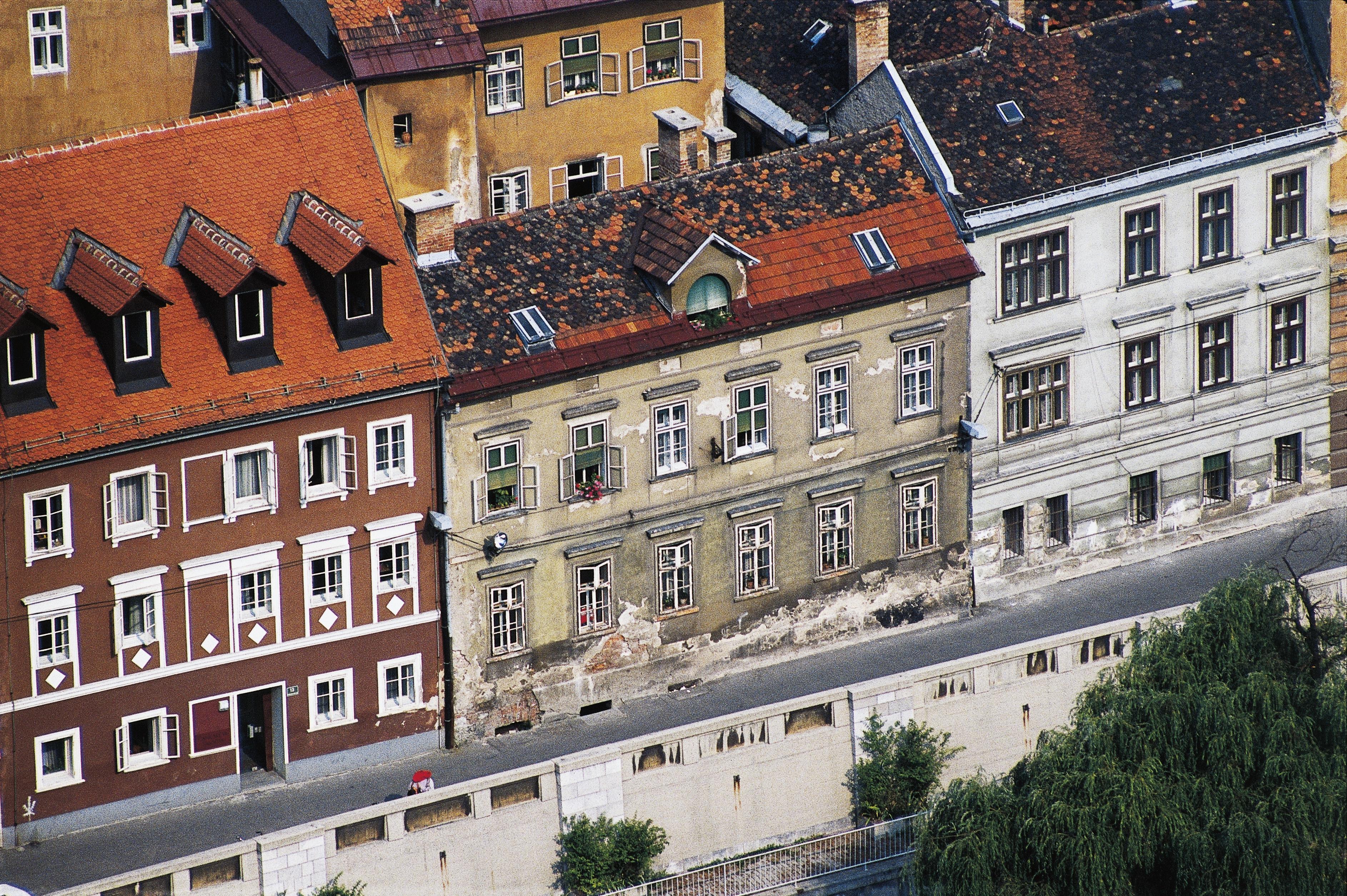 Aerial view of buildings in Ljubljana